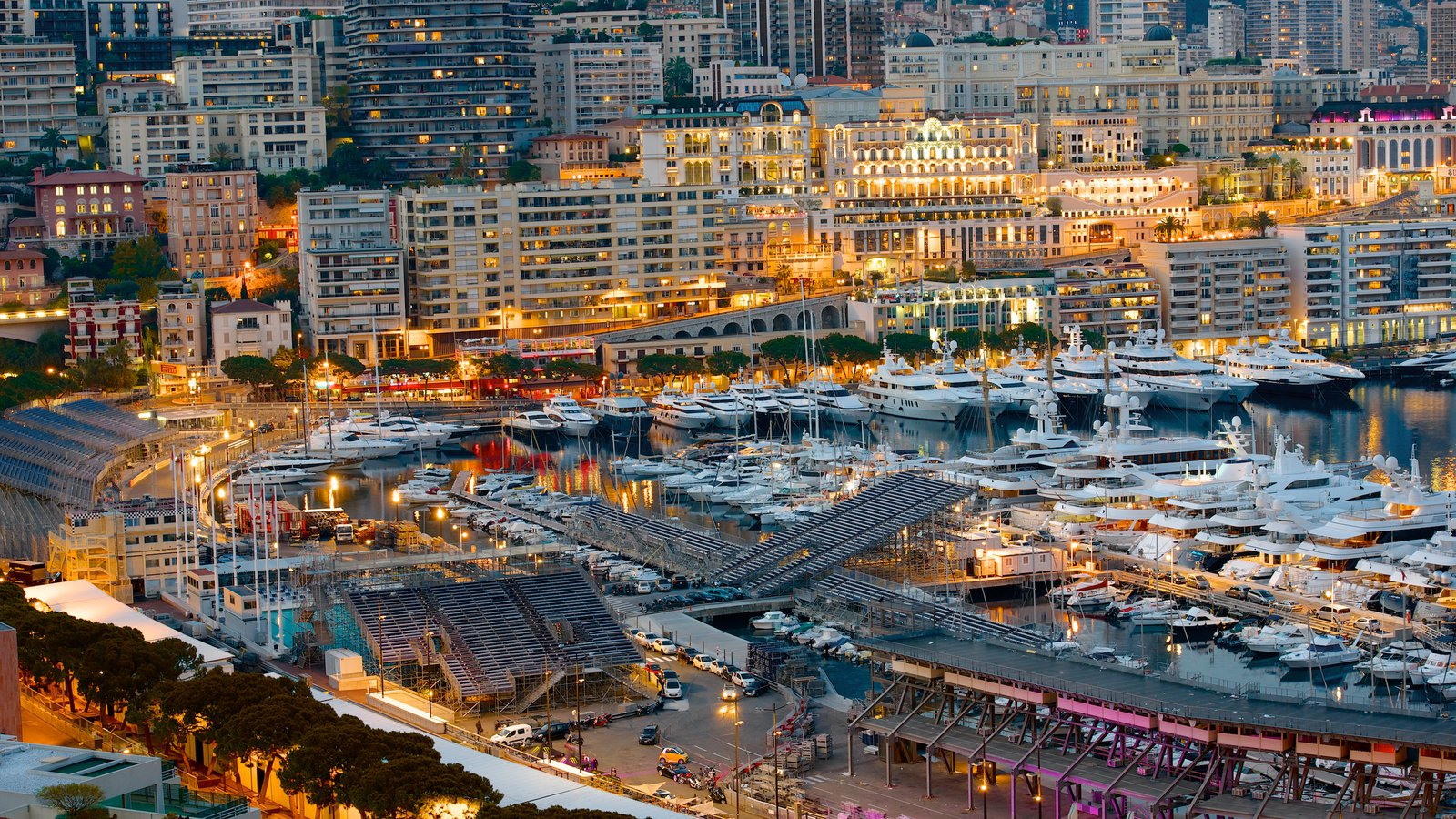 Monaco which includes a coastal town and a marina