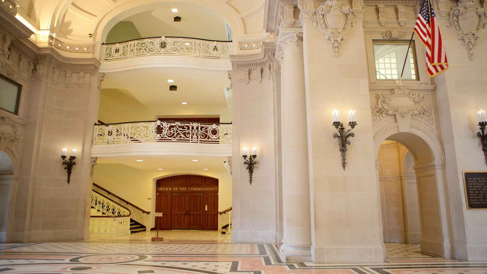 U.S. Naval Academy showing interior views, heritage architecture and military items