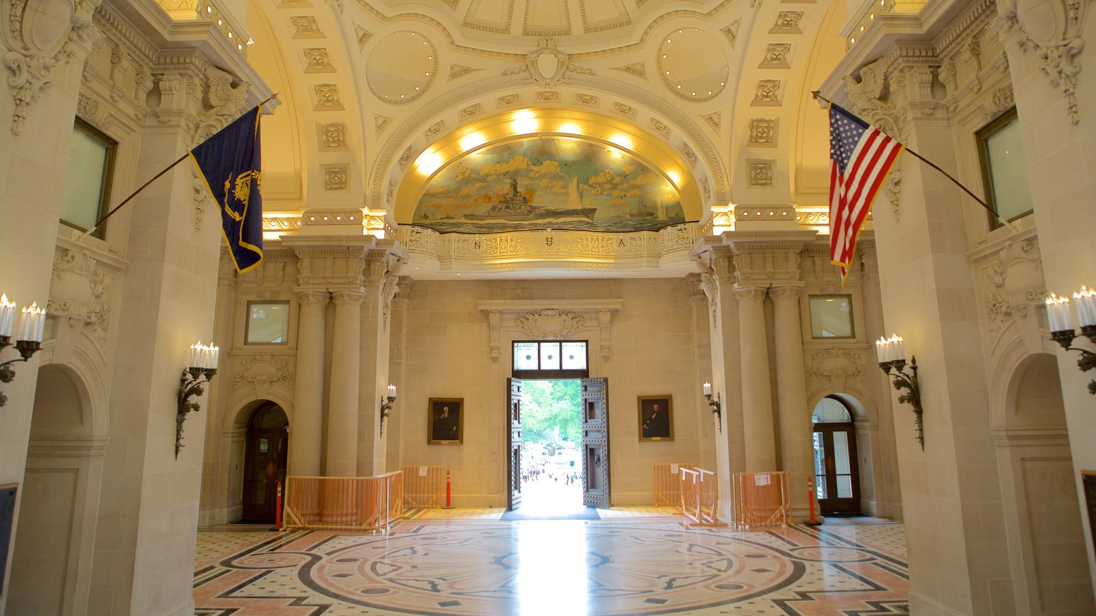 U.S. Naval Academy showing military items, heritage architecture and interior views