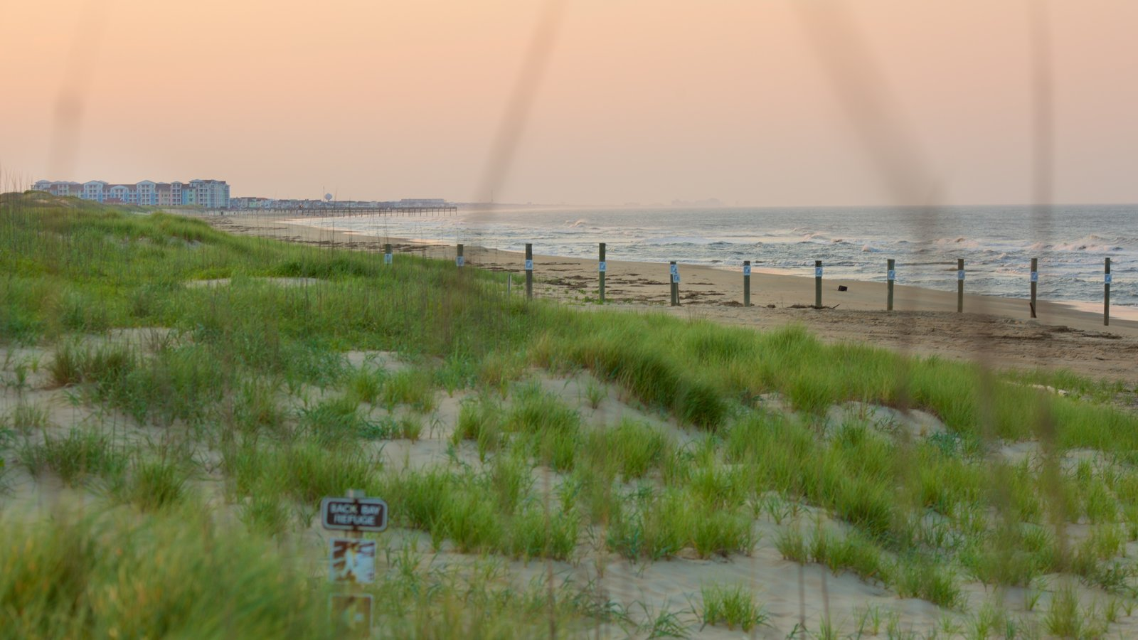 False Cape State Park featuring a beach, a sunset and landscape views