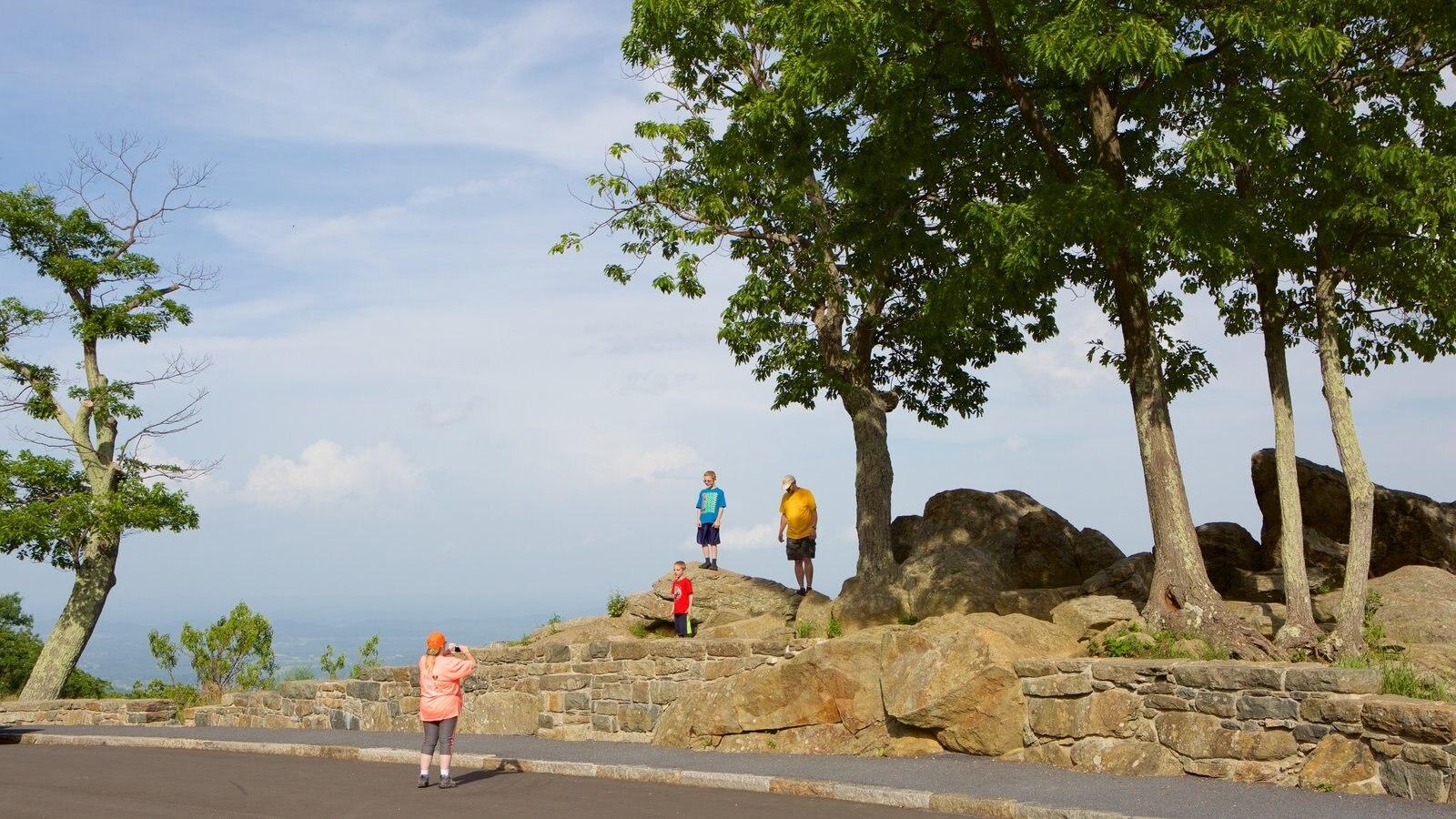 Parque Nacional Shenandoah mostrando vistas y escenas tranquilas y también una familia