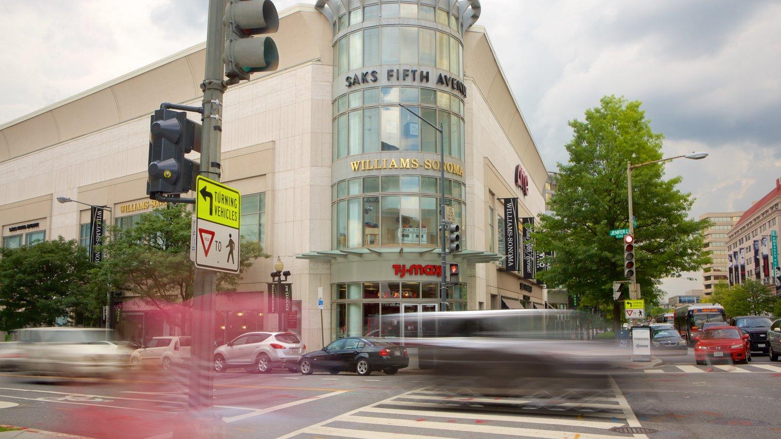 Friendship Heights caracterizando sinalização, compras e cenas de rua
