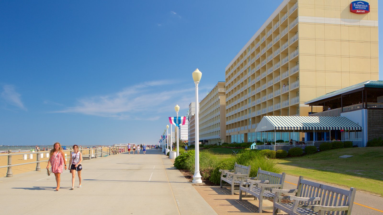 Virginia Beach Boardwalk Showing General Coastal Views And A Hotel