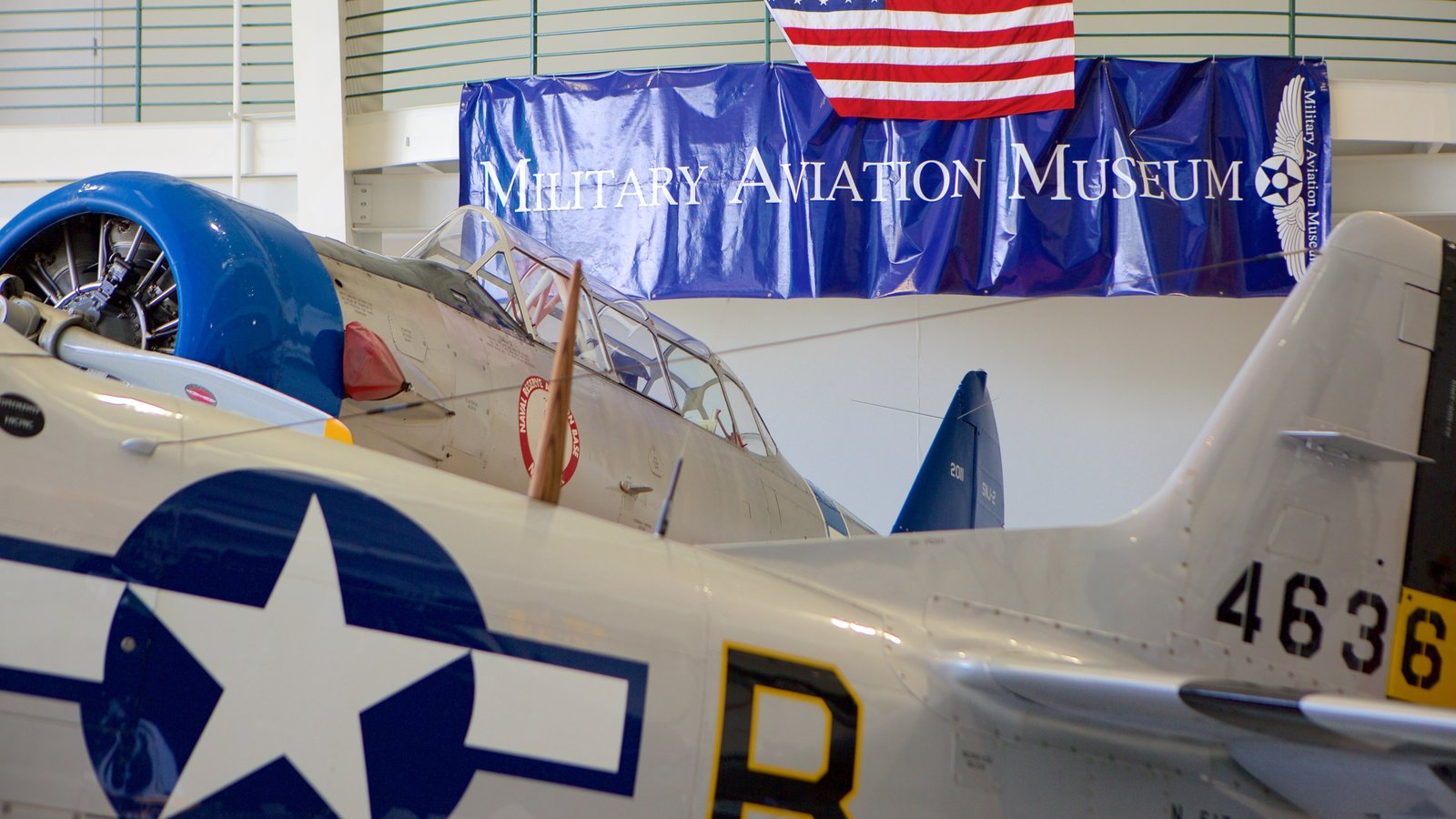 Military Aviation Museum showing signage and aircraft