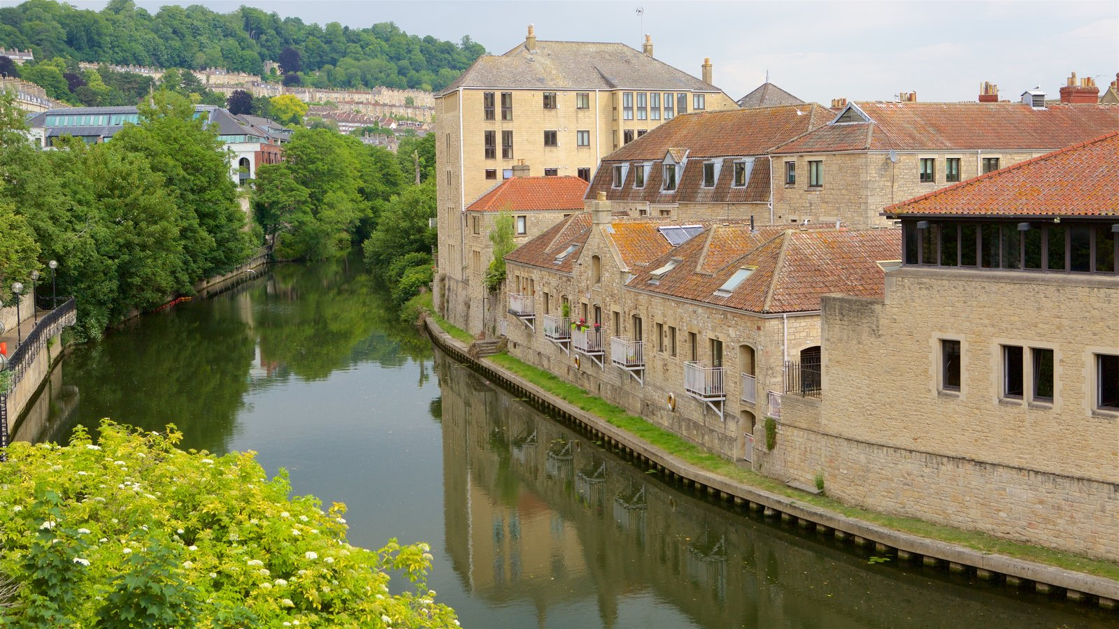 Pulteney Bridge which includes a small town or village and a river or creek