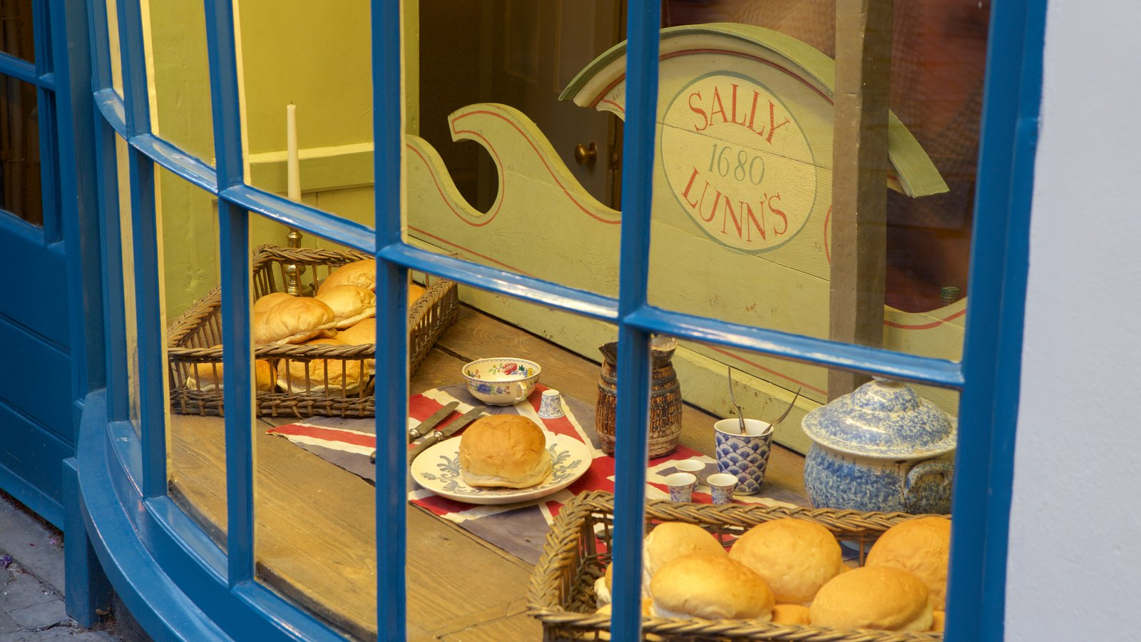 Sally Lunn\'s featuring food and signage