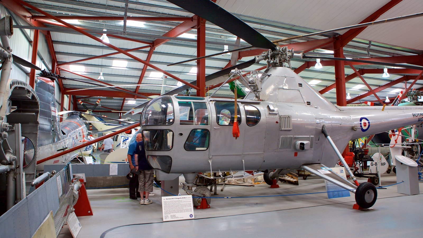 International Helicopter Museum showing interior views and aircraft