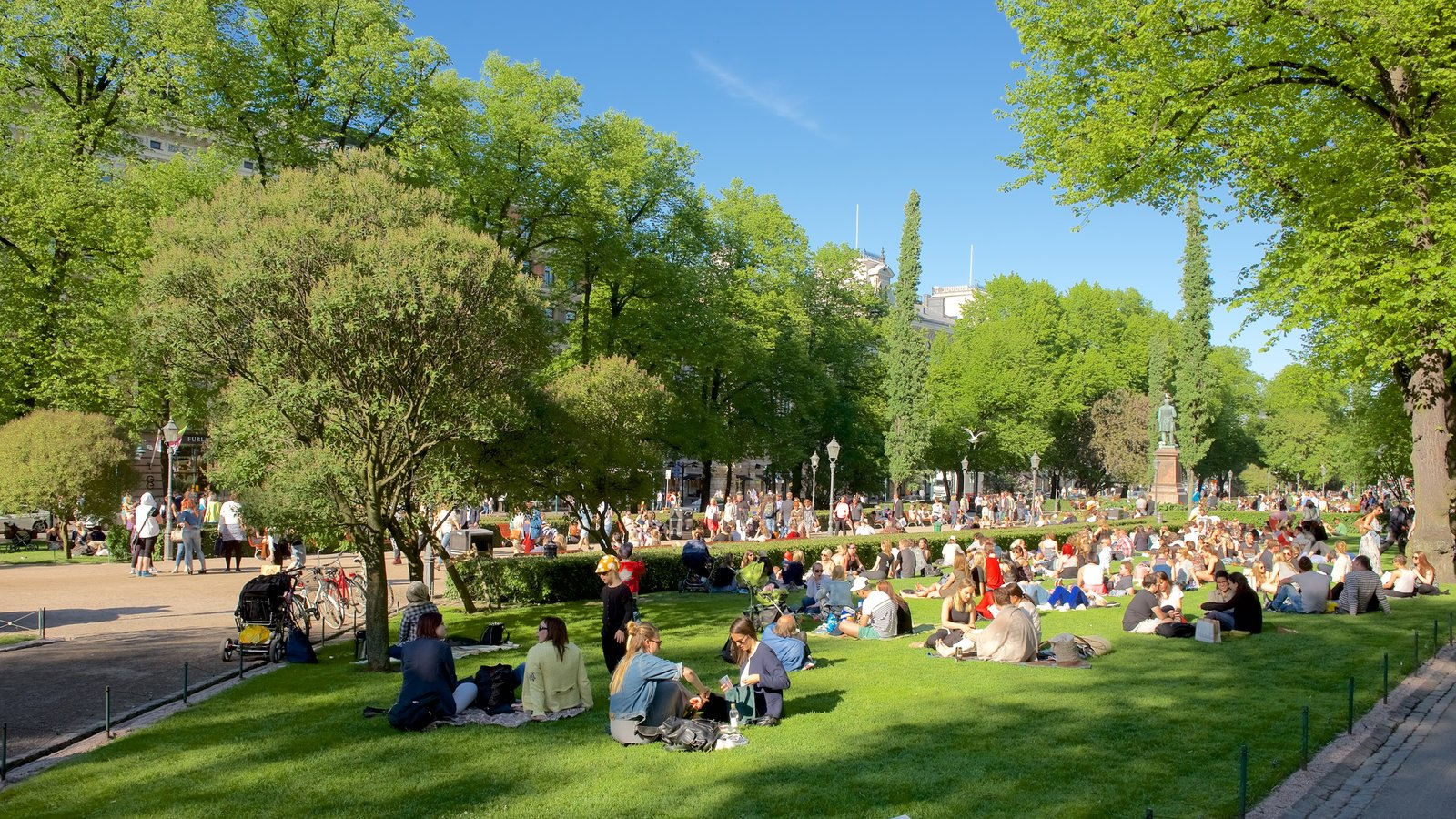 Esplanadi showing a park and picnicing as well as a large group of people