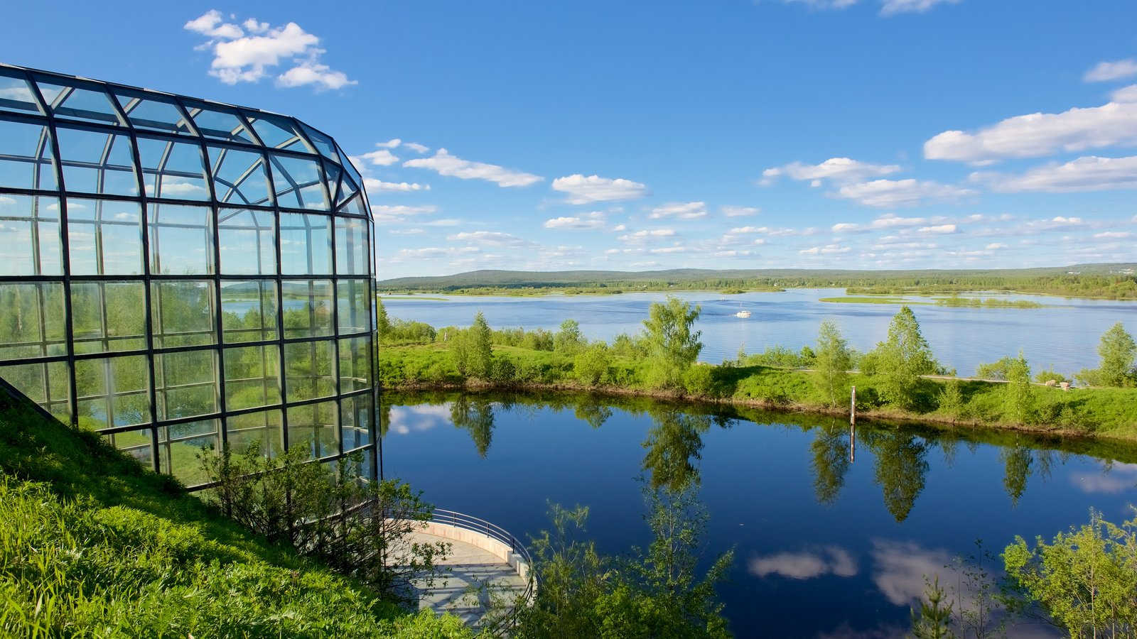 Arktikum showing tranquil scenes, landscape views and a river or creek