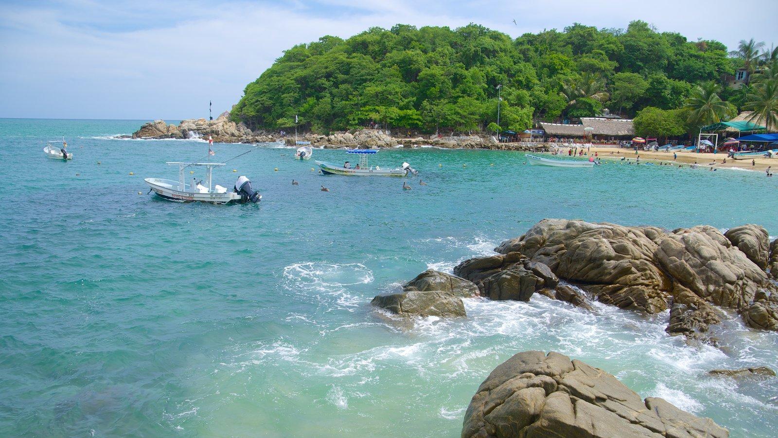 Playa Puerto Angelito que incluye natación, escenas tropicales y costa escarpada