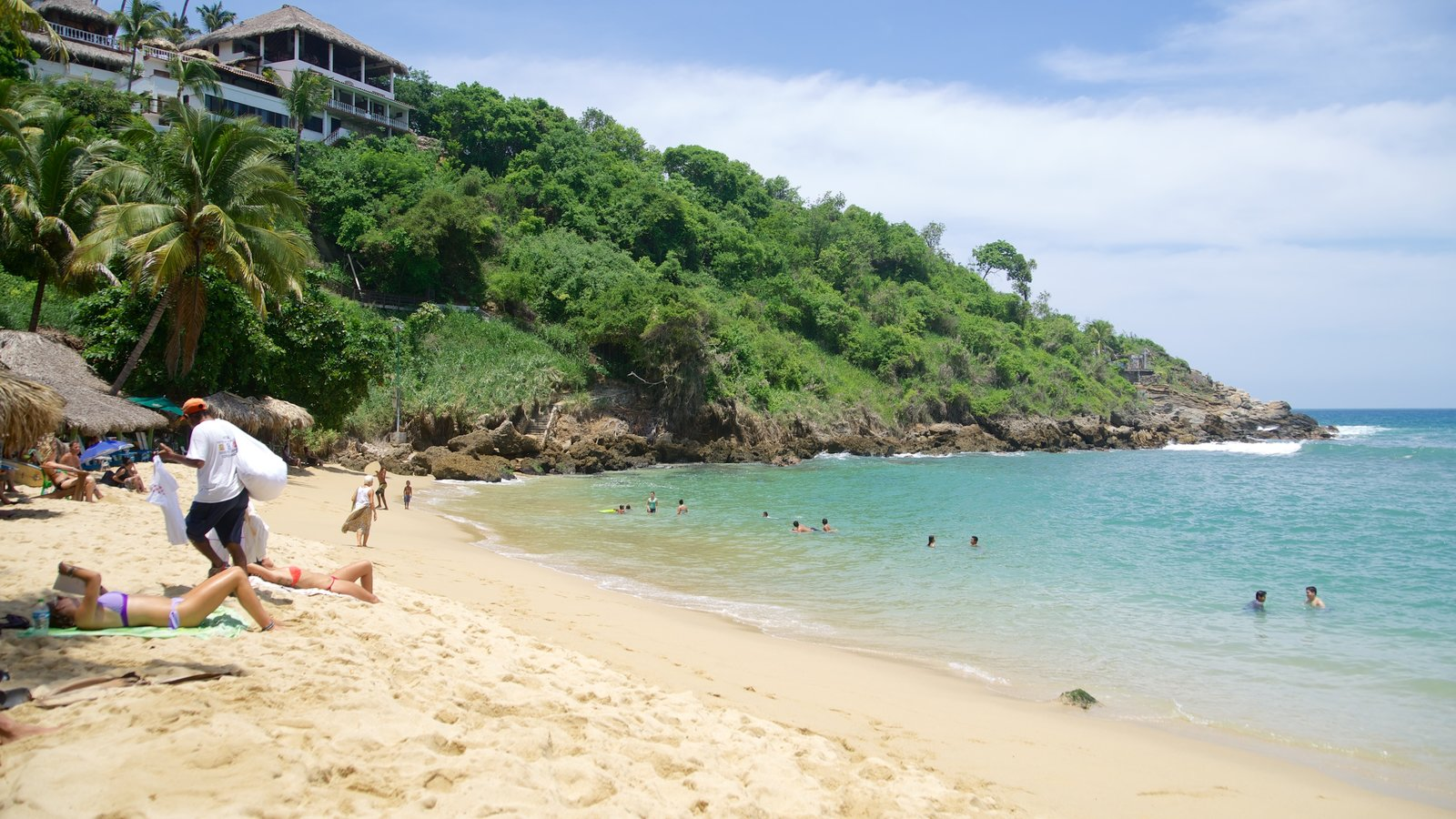 Carrizalillo Beach showing rocky coastline, a house and swimming