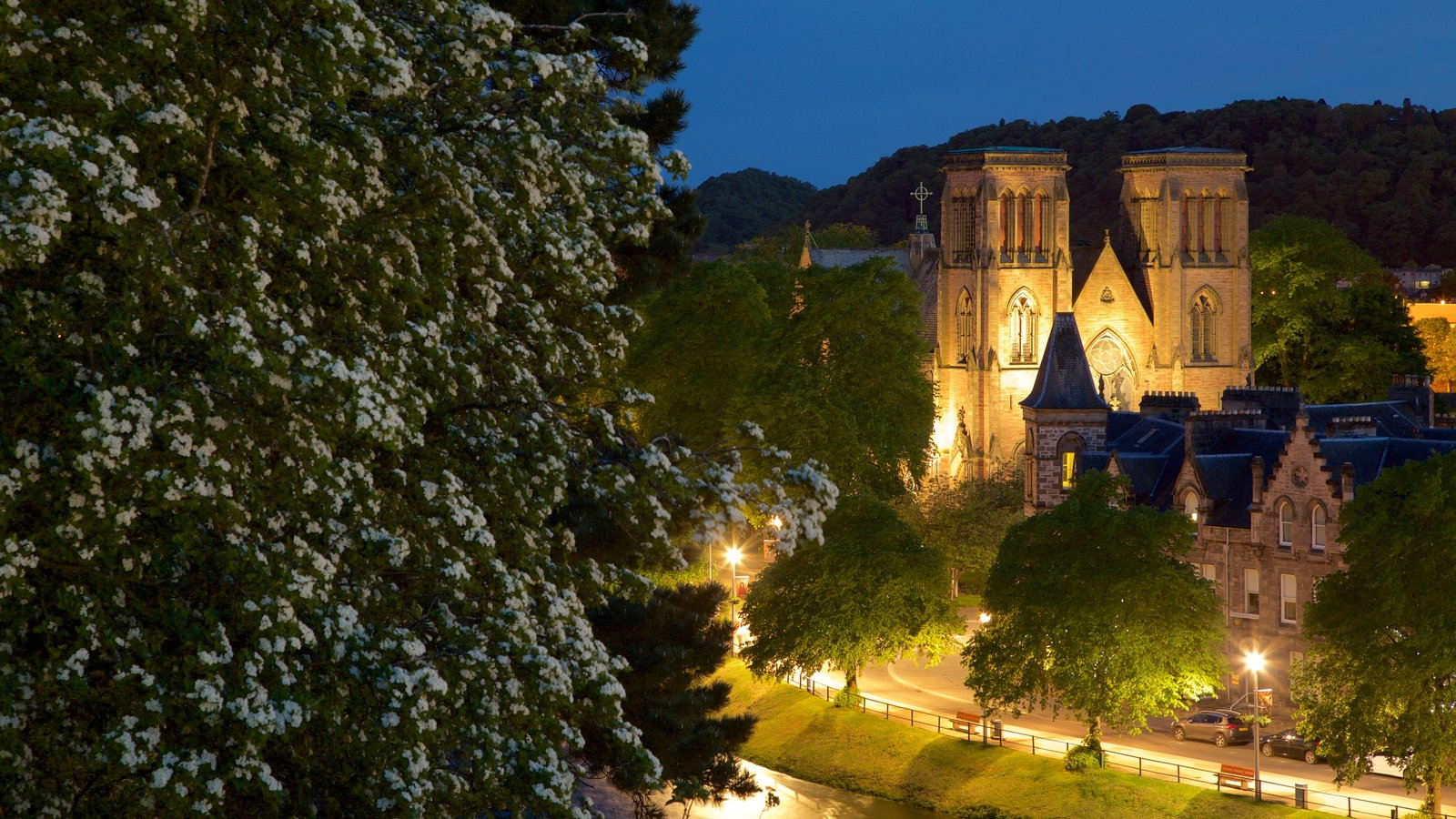 Inverness Cathedral showing heritage elements, night scenes and heritage architecture