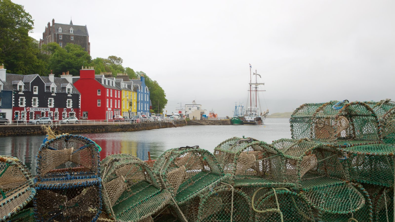 Isle of Mull which includes fishing, a coastal town and a bay or harbor