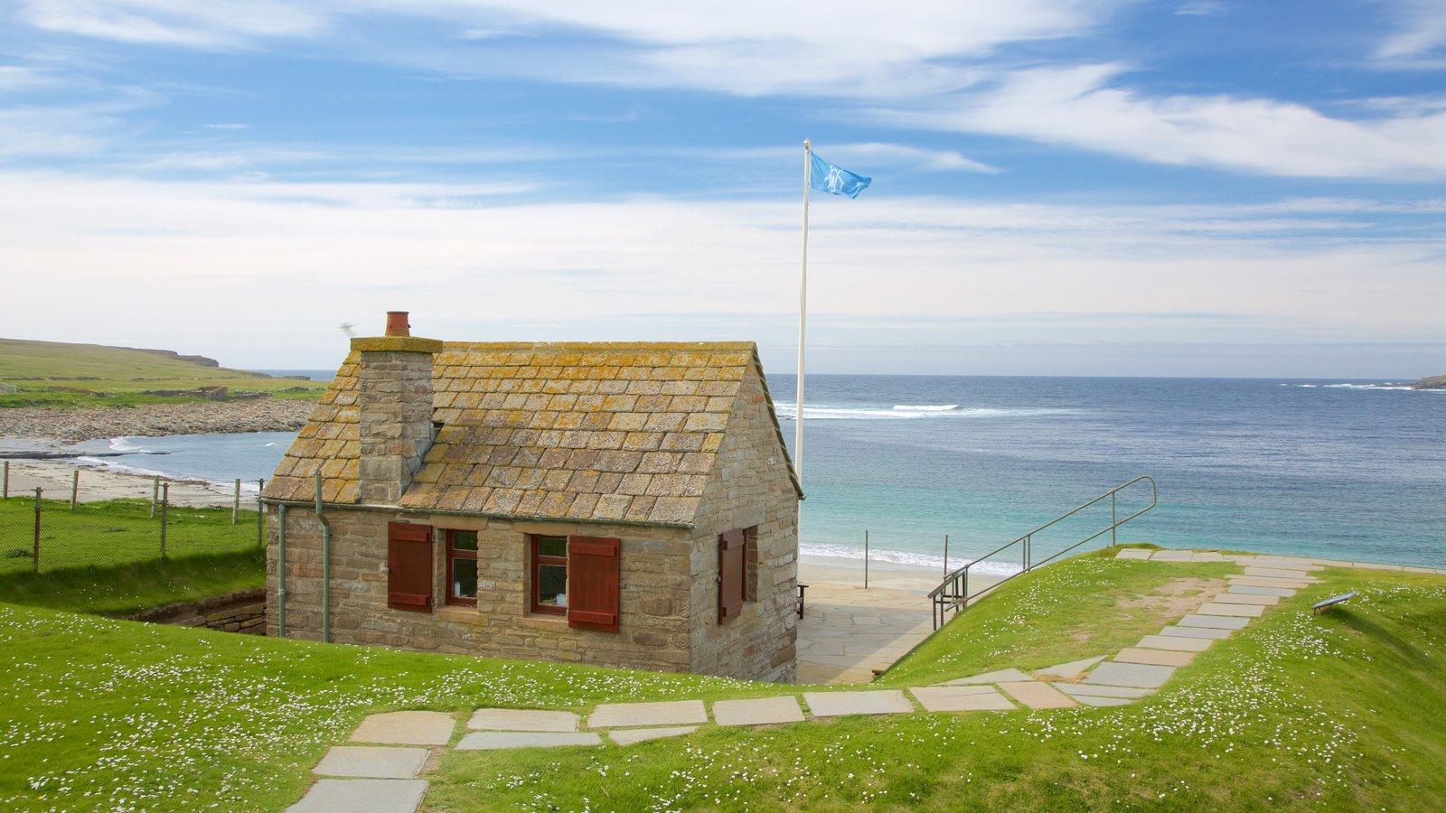 Skara Brae featuring a bay or harbor, a house and a beach