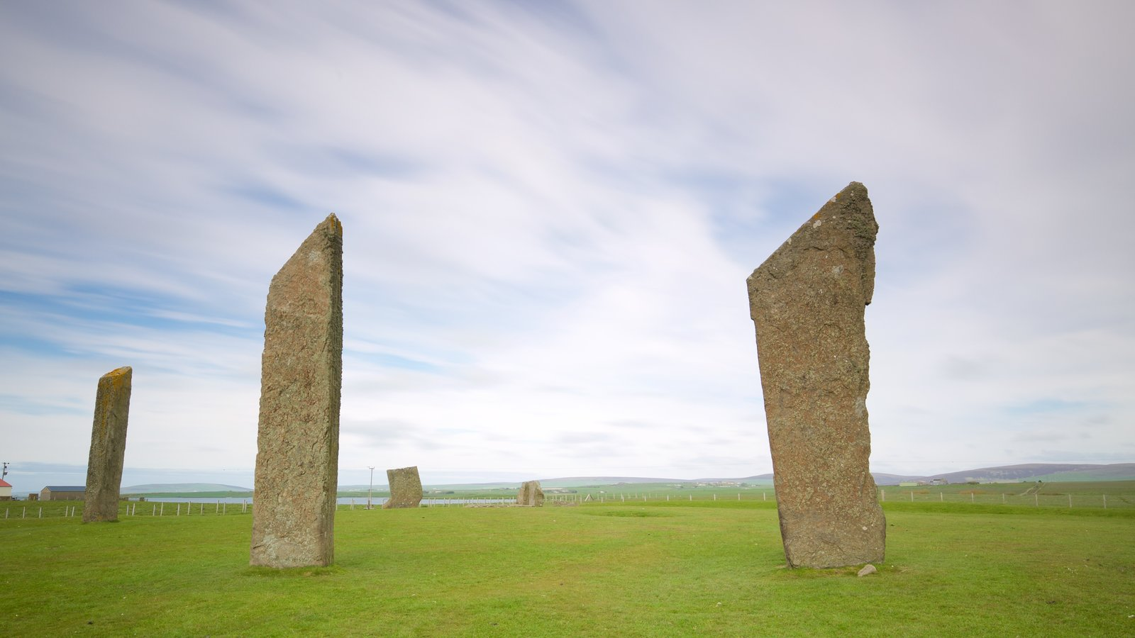 Standing Stones of Stenness featuring a monument, tranquil scenes and heritage elements