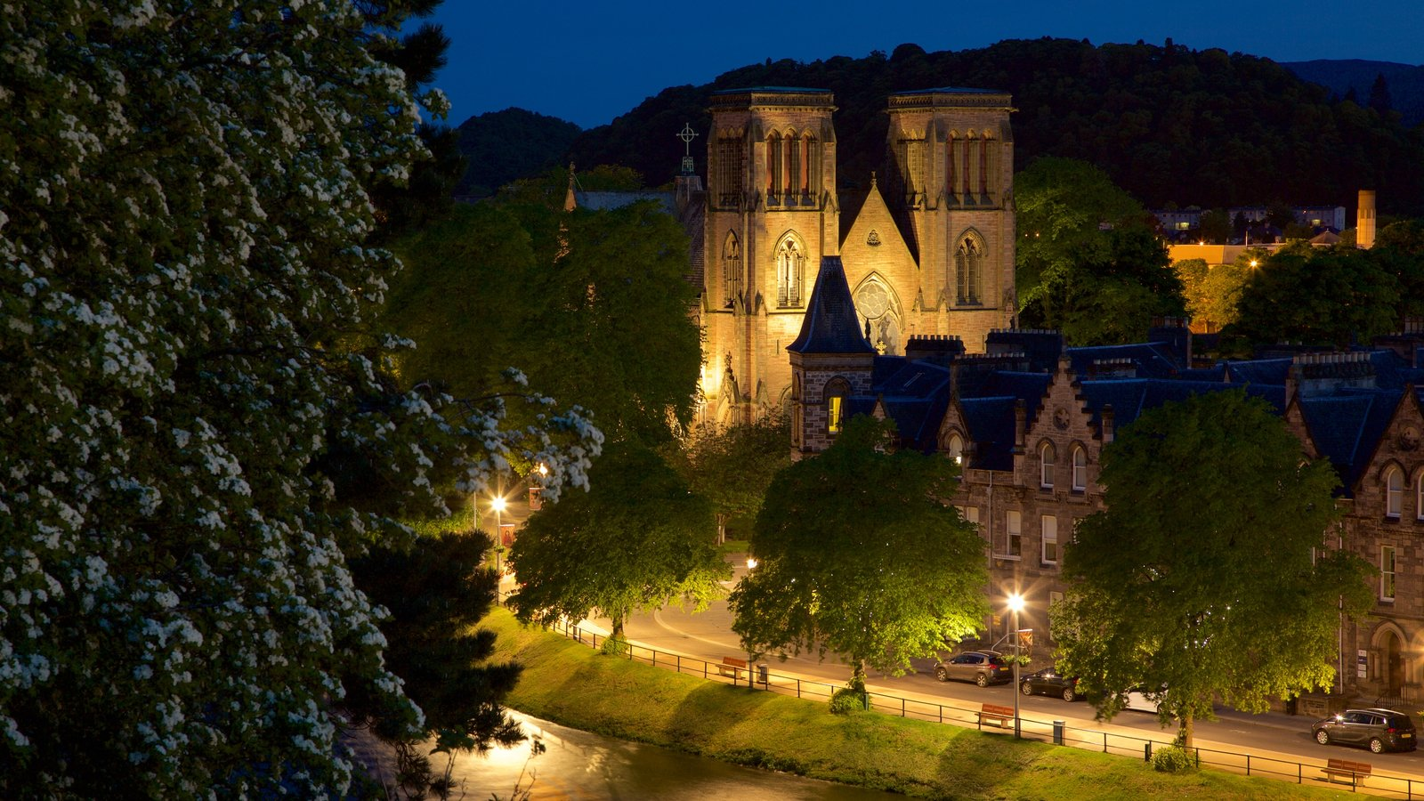 Inverness Cathedral featuring street scenes, night scenes and heritage architecture