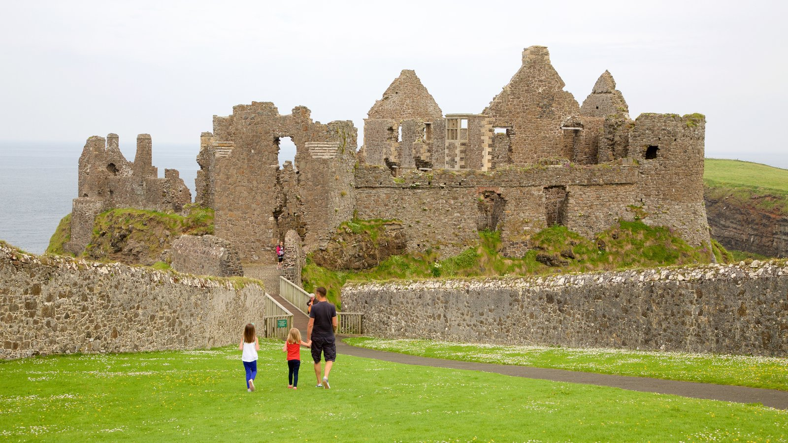 Dunluce Castle which includes a castle, heritage elements and heritage architecture