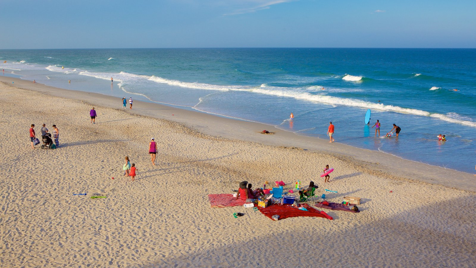 Wrightsville Beach which includes a beach and general coastal views as well as children
