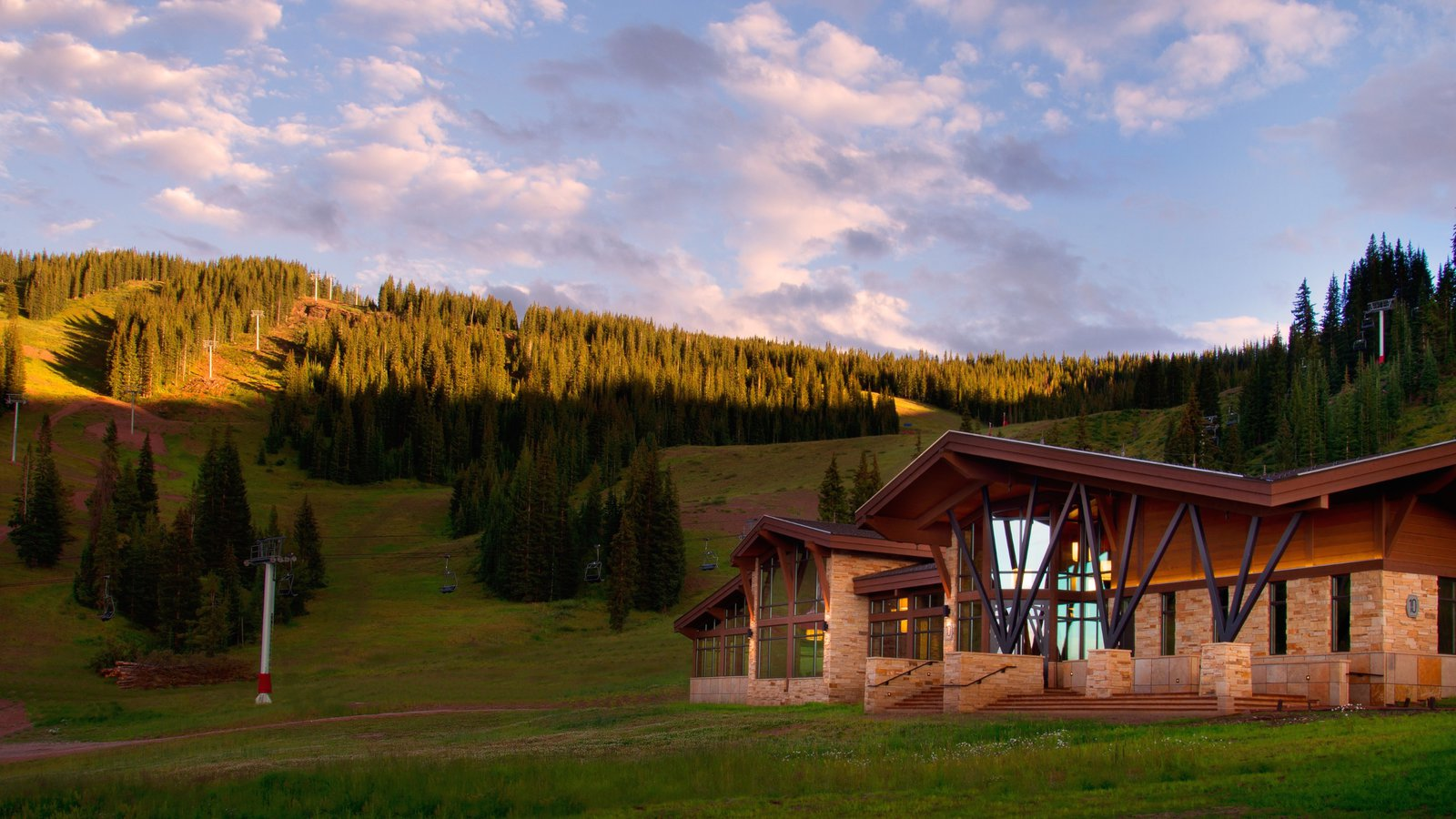 Vail ski resort featuring a luxury hotel or resort and a sunset