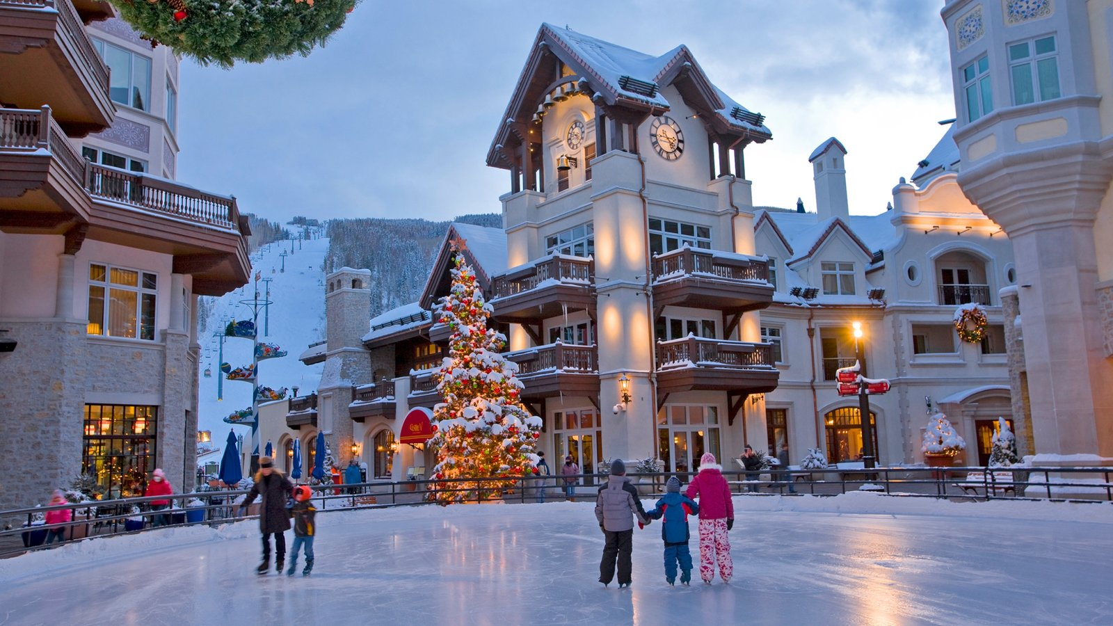 Vail showing snow a luxury hotel or resort and ice skating