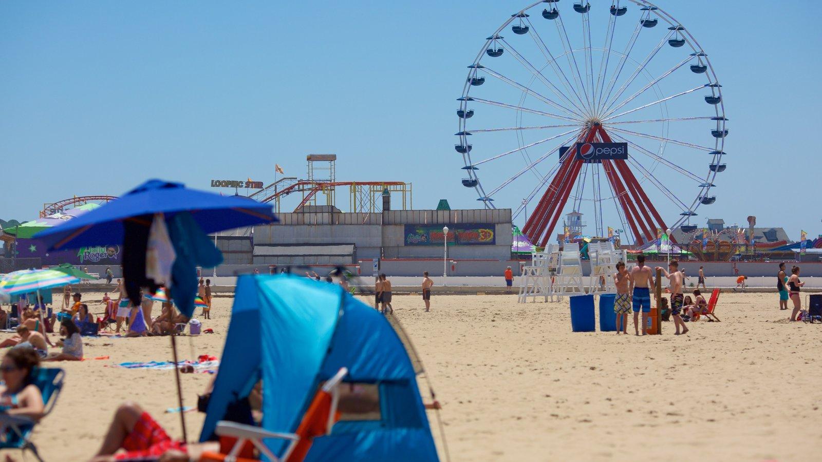 Ocean City Beach which includes general coastal views, rides and a sandy beach