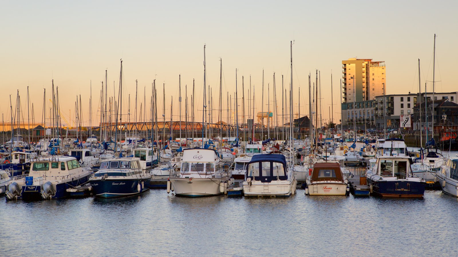 Swansea featuring a marina, general coastal views and a sunset