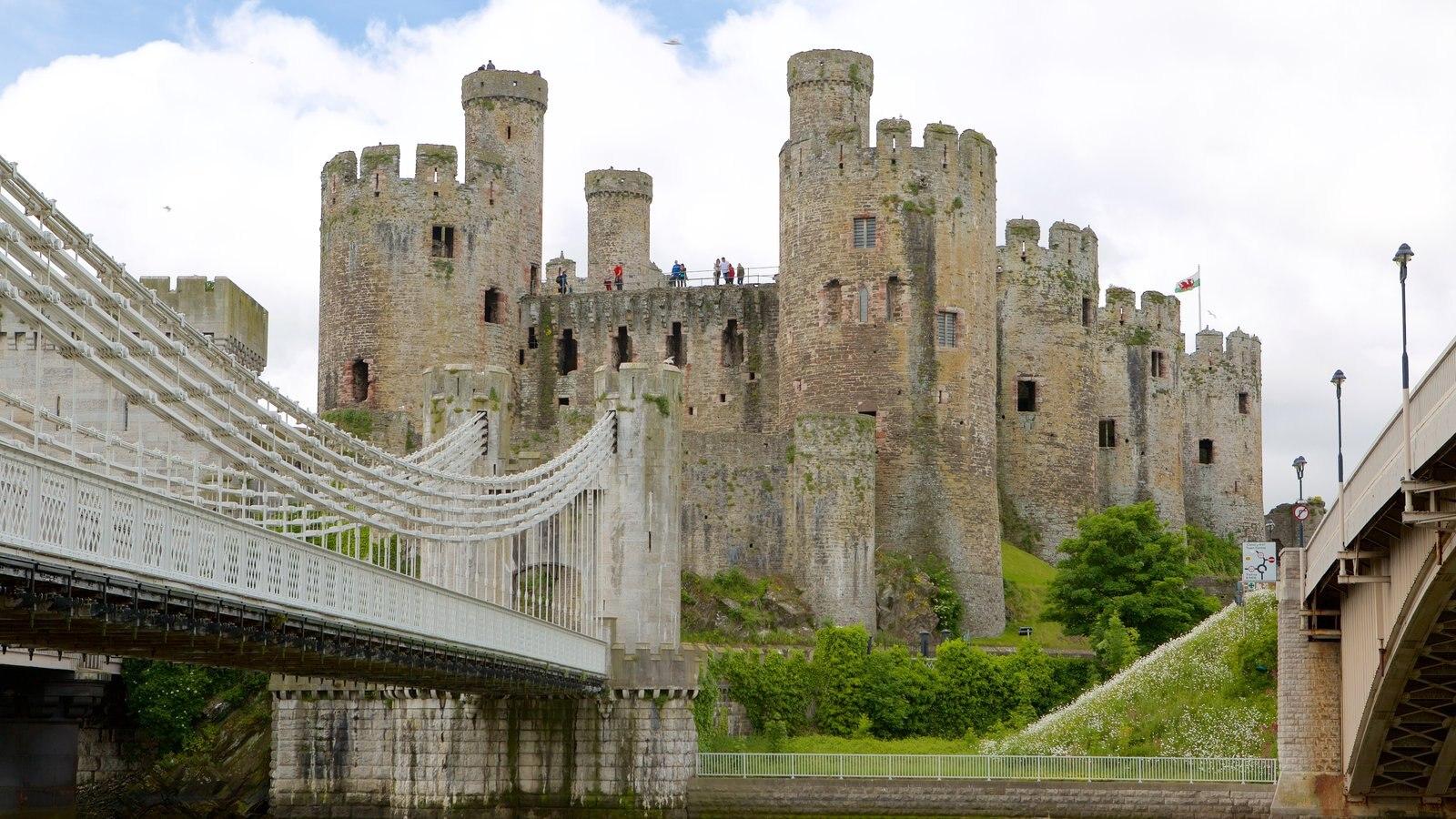 Castillo de Conwy ofreciendo castillo o palacio, elementos del patrimonio y un puente