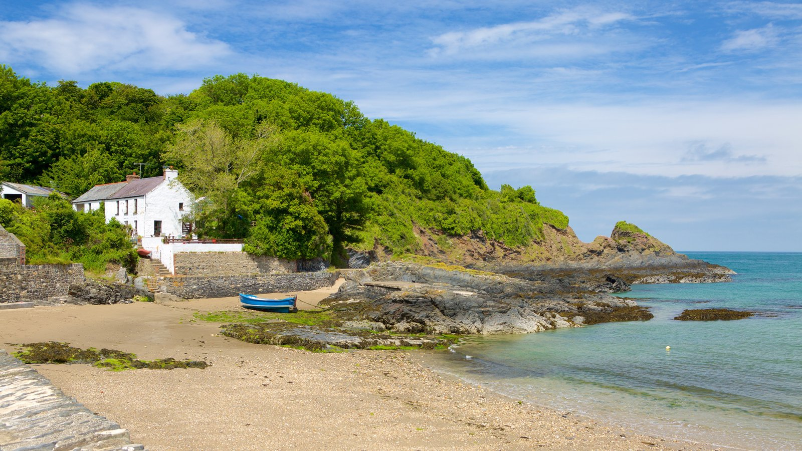 Pembrokeshire Coast National Park which includes a sandy beach, a coastal town and a pebble beach