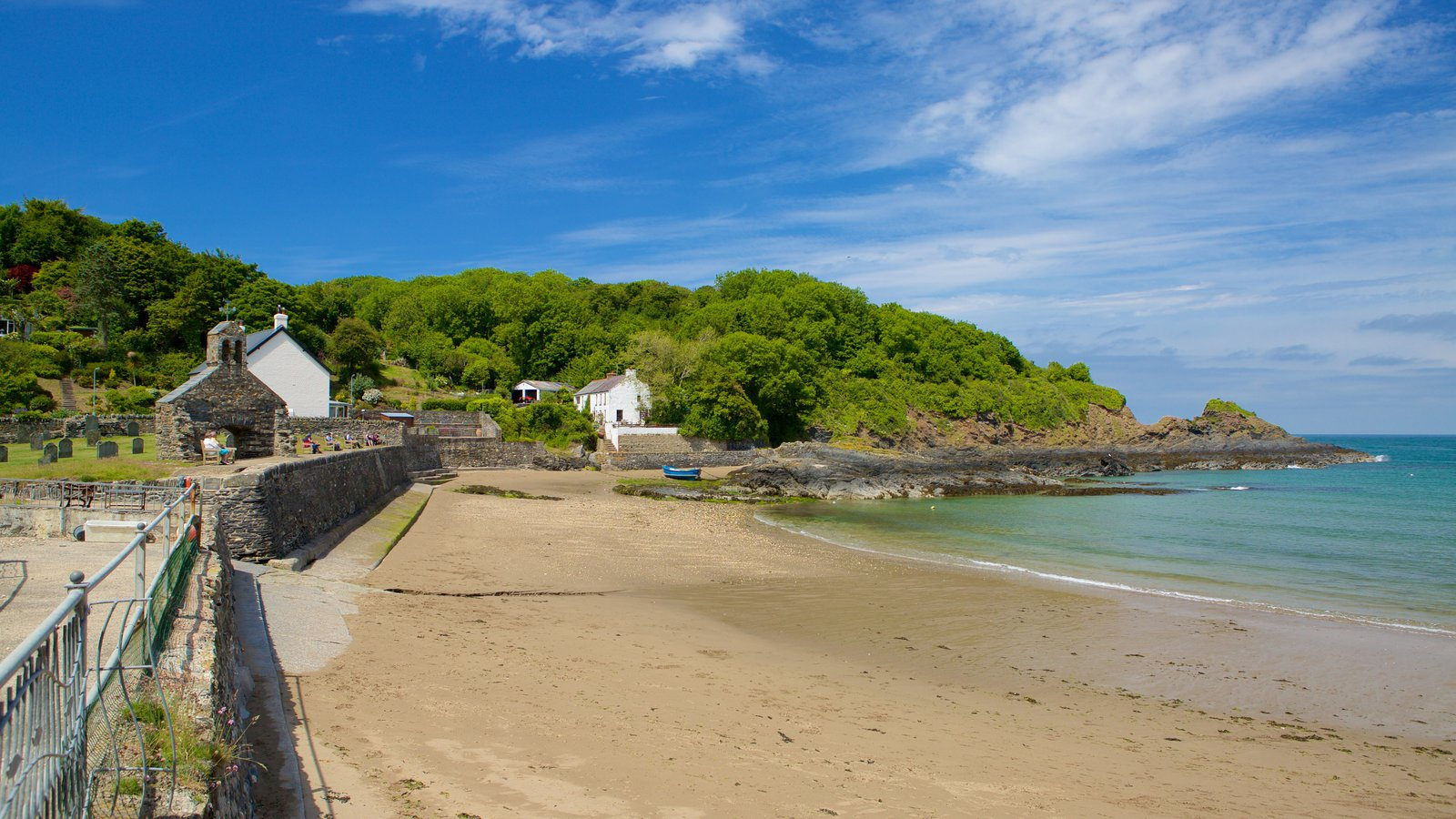 Pembrokeshire Coast National Park which includes a beach and a coastal town