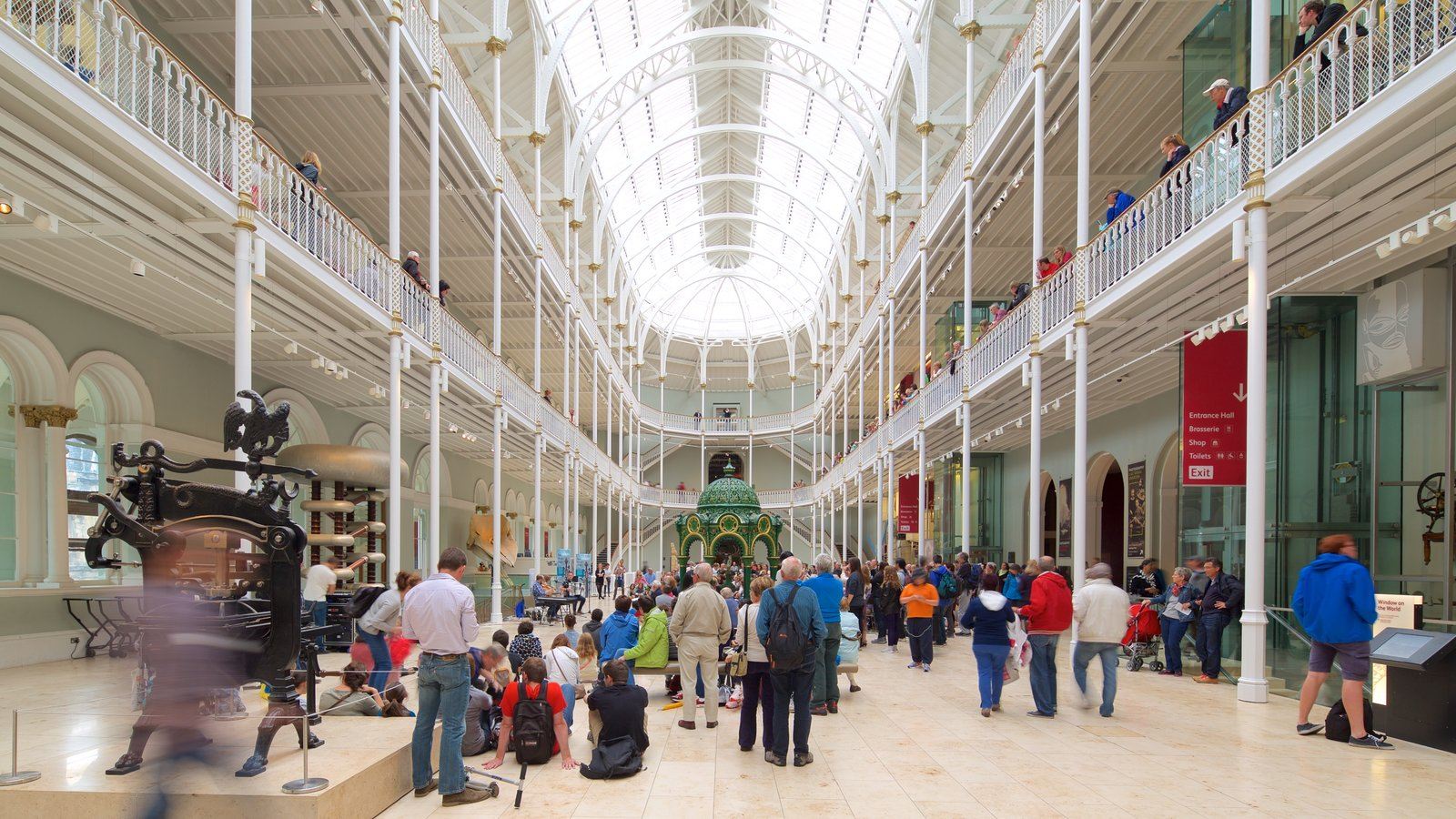 National Museum of Scotland showing interior views as well as a large group of people