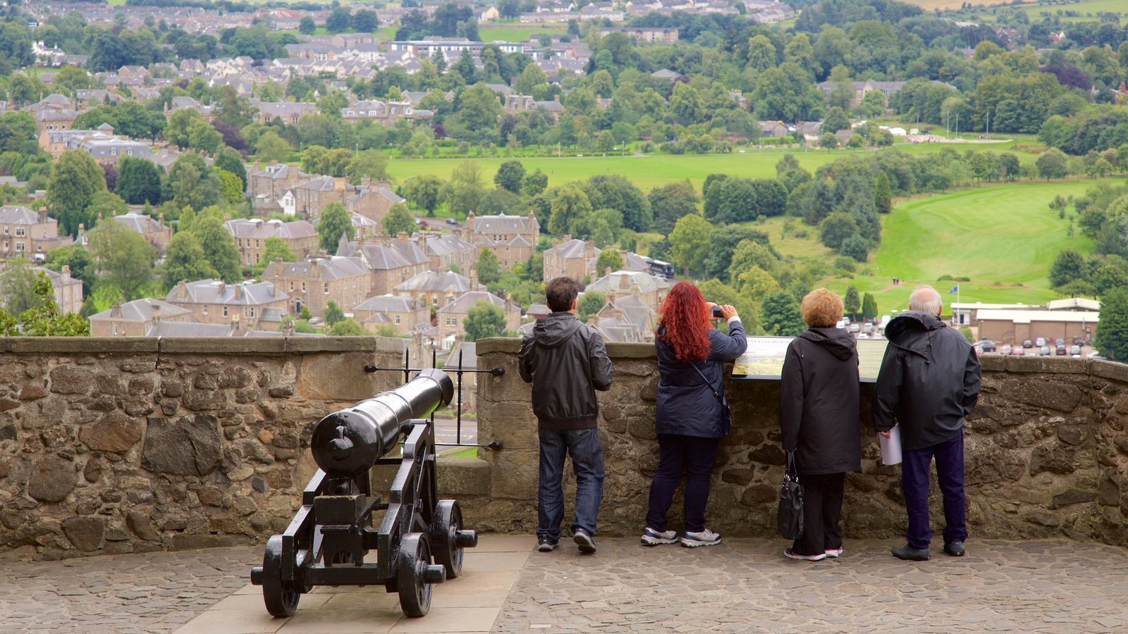 Stirling Castle featuring a small town or village, heritage elements and views