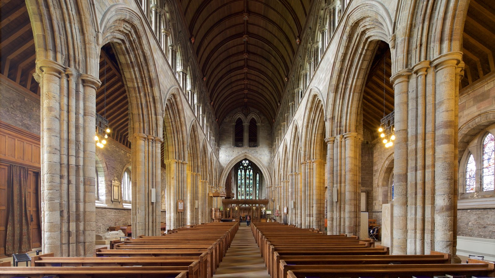 Dunblane Cathedral featuring a church or cathedral, interior views and religious elements