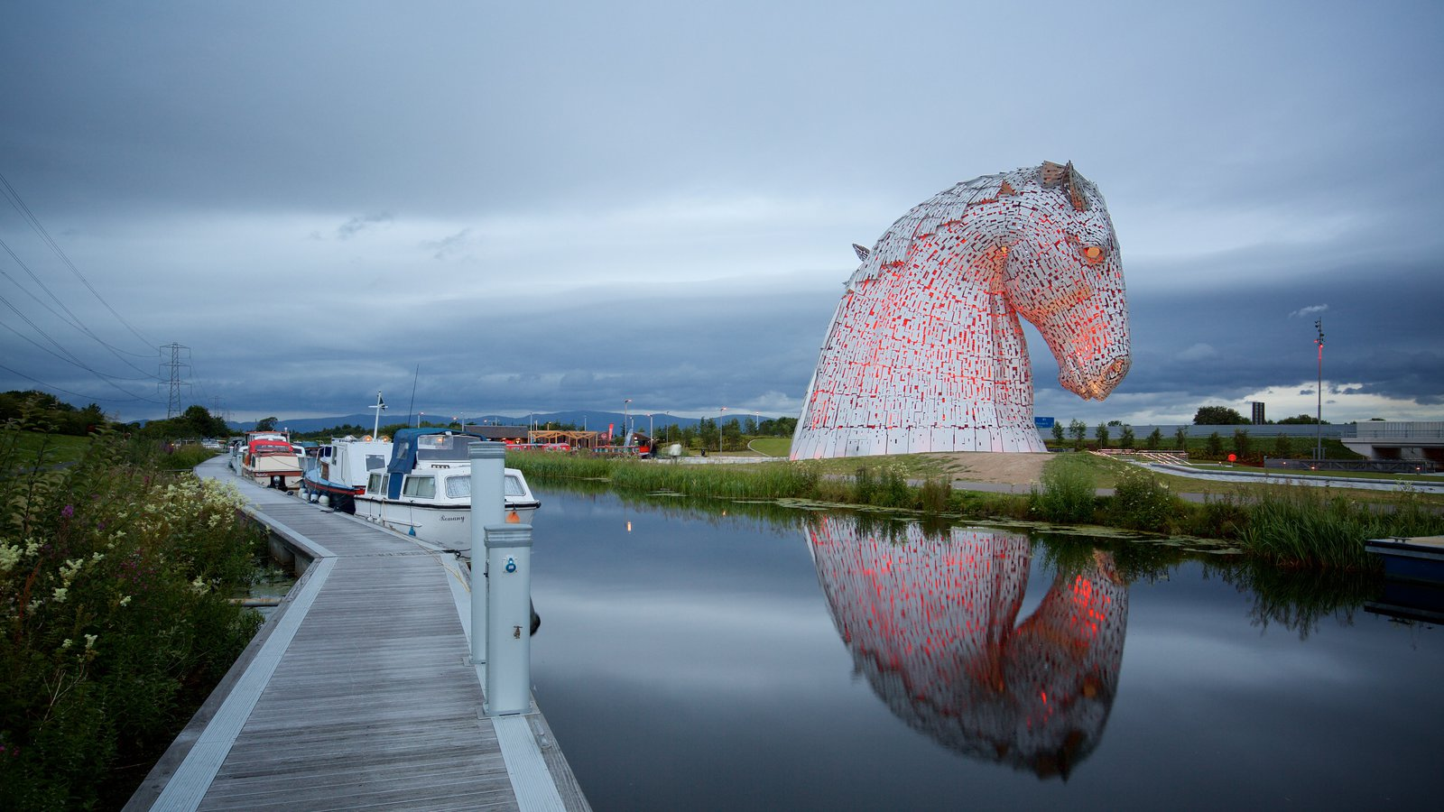 Grangemouth showing outdoor art, night scenes and a river or creek