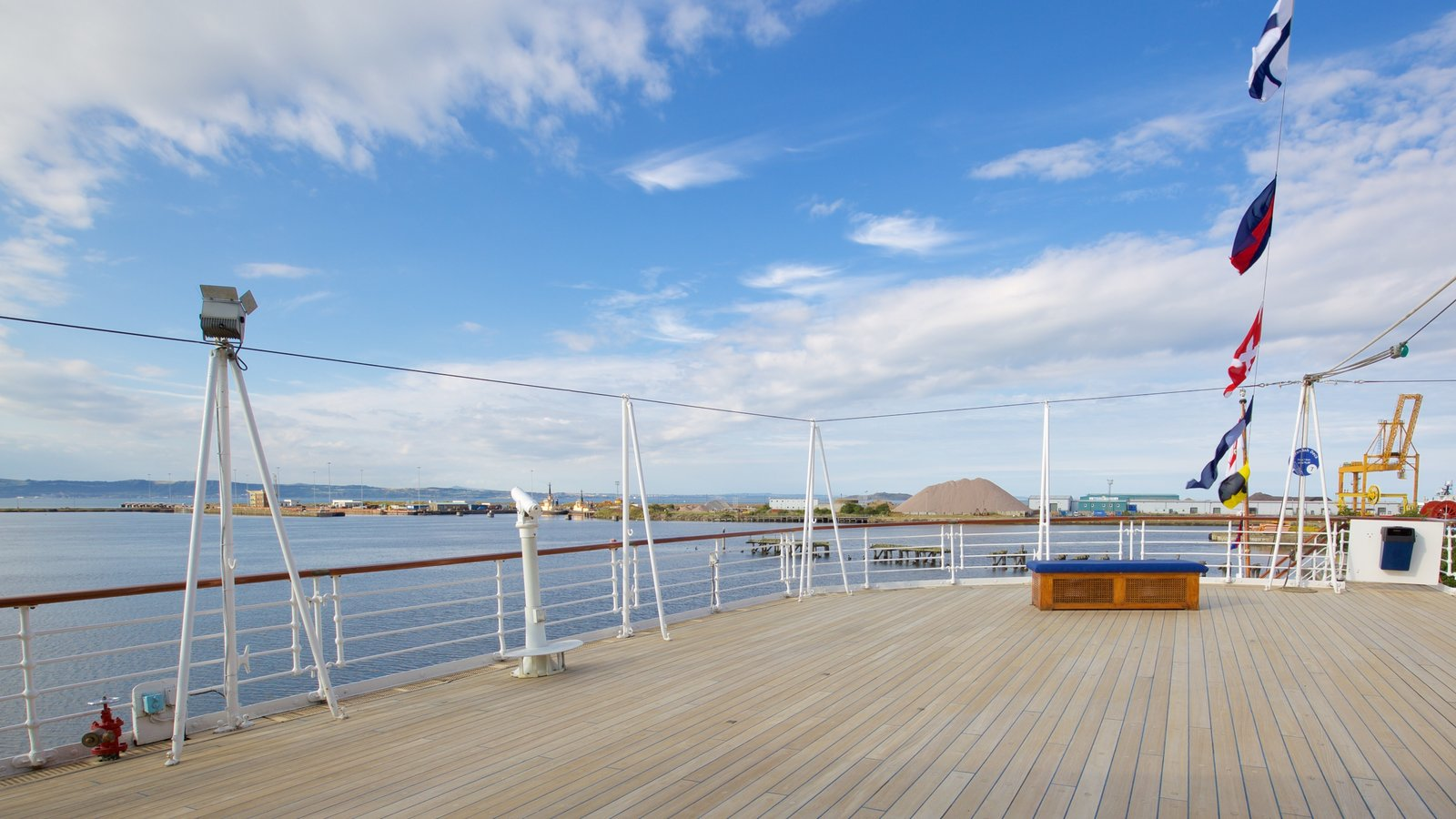 Royal Yacht Britannia which includes boating and general coastal views