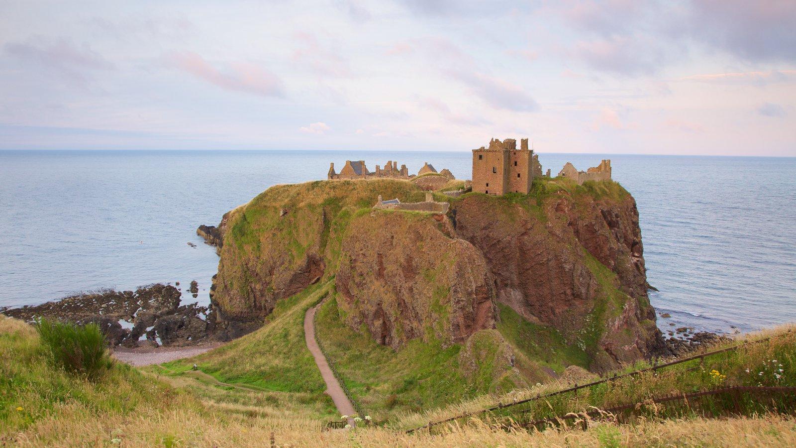 Dunnottar Castle ofreciendo castillo o palacio y tierras de cultivo