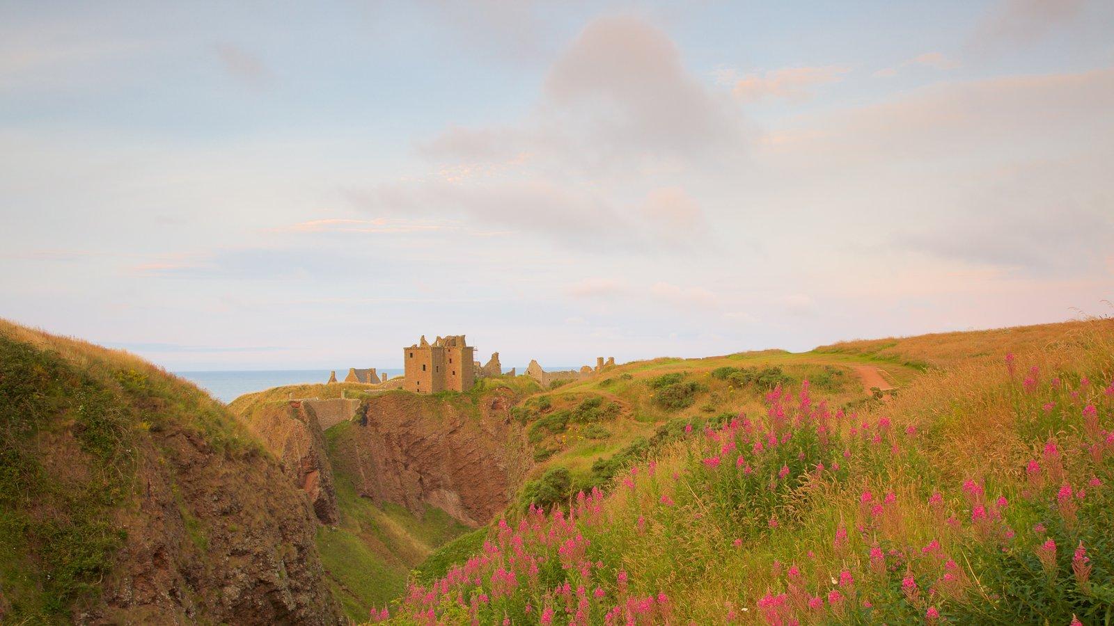 Dunnottar Castle que incluye una puesta de sol y tierras de cultivo