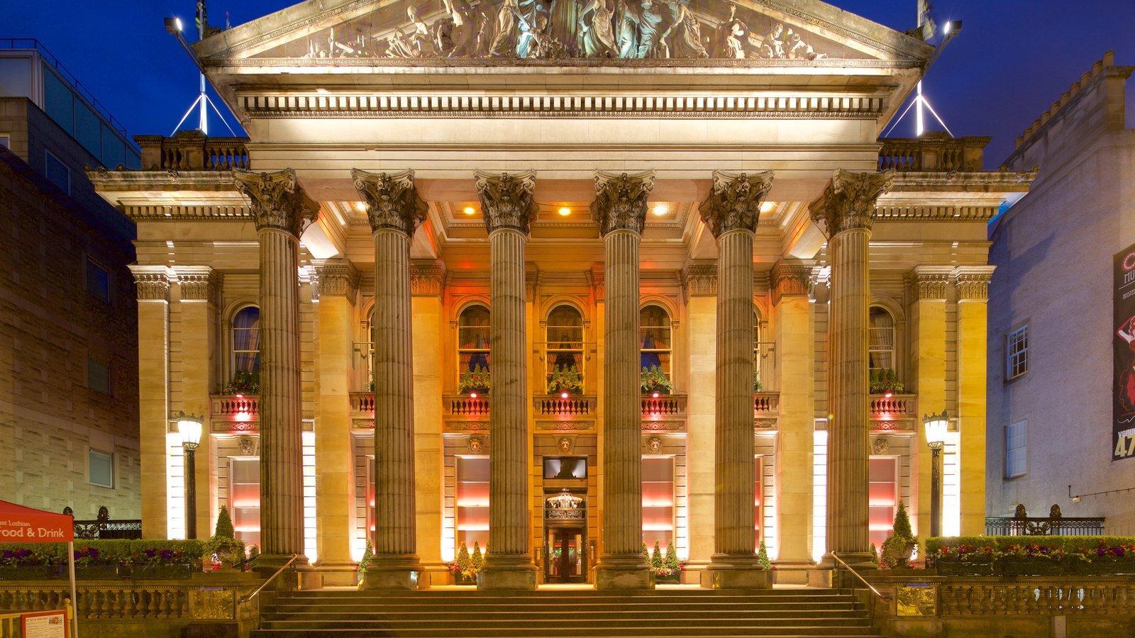 Edinburgh featuring night scenes and heritage architecture