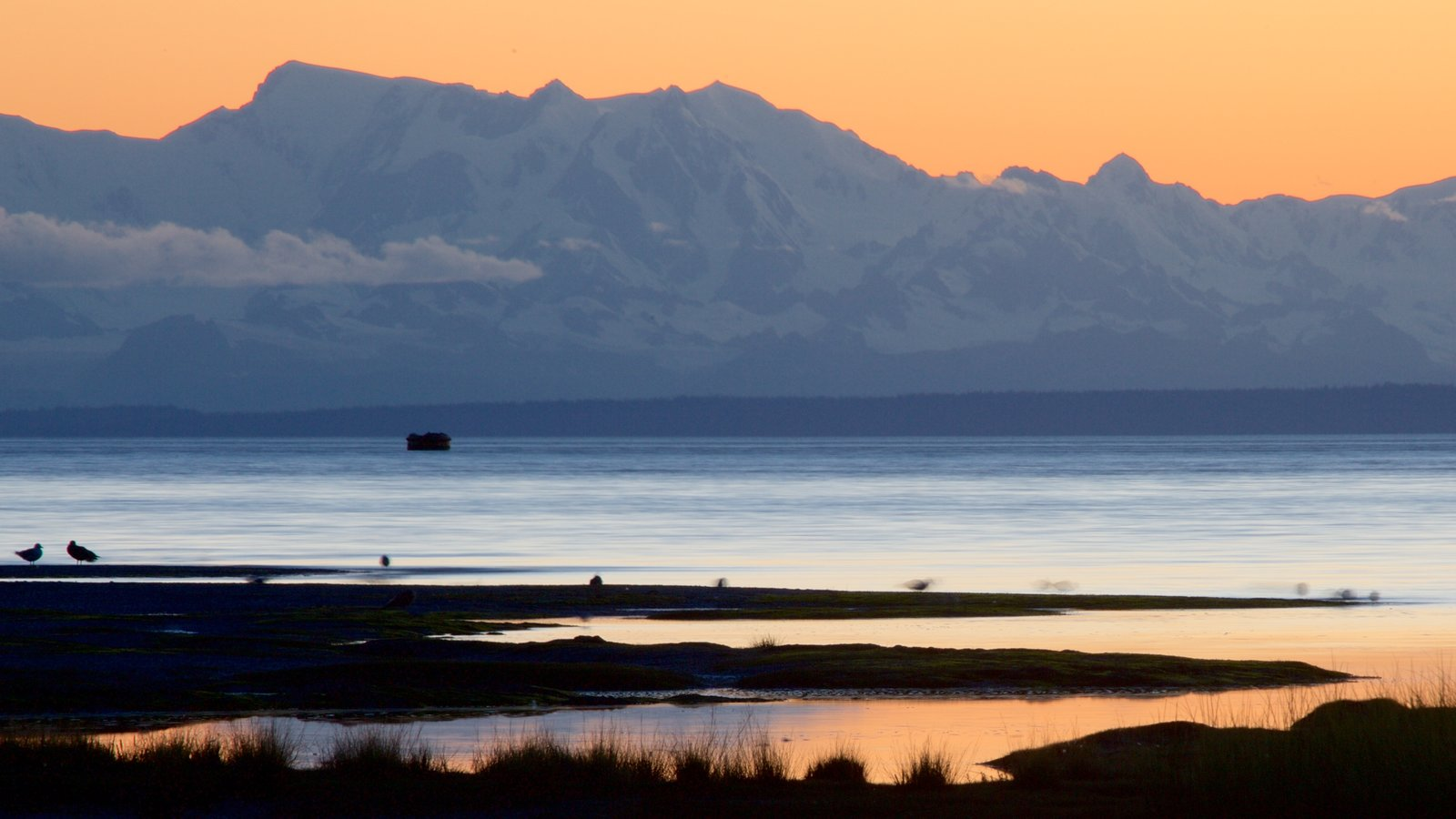Anchorage showing a sunset and a beach