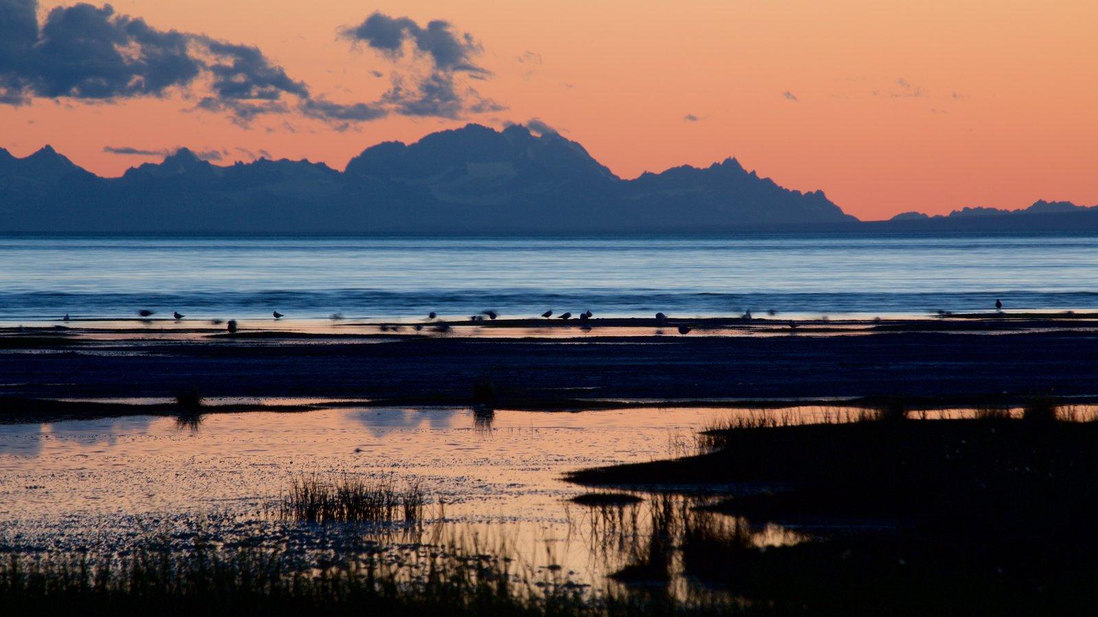 Anchorage ofreciendo una puesta de sol y una playa de arena