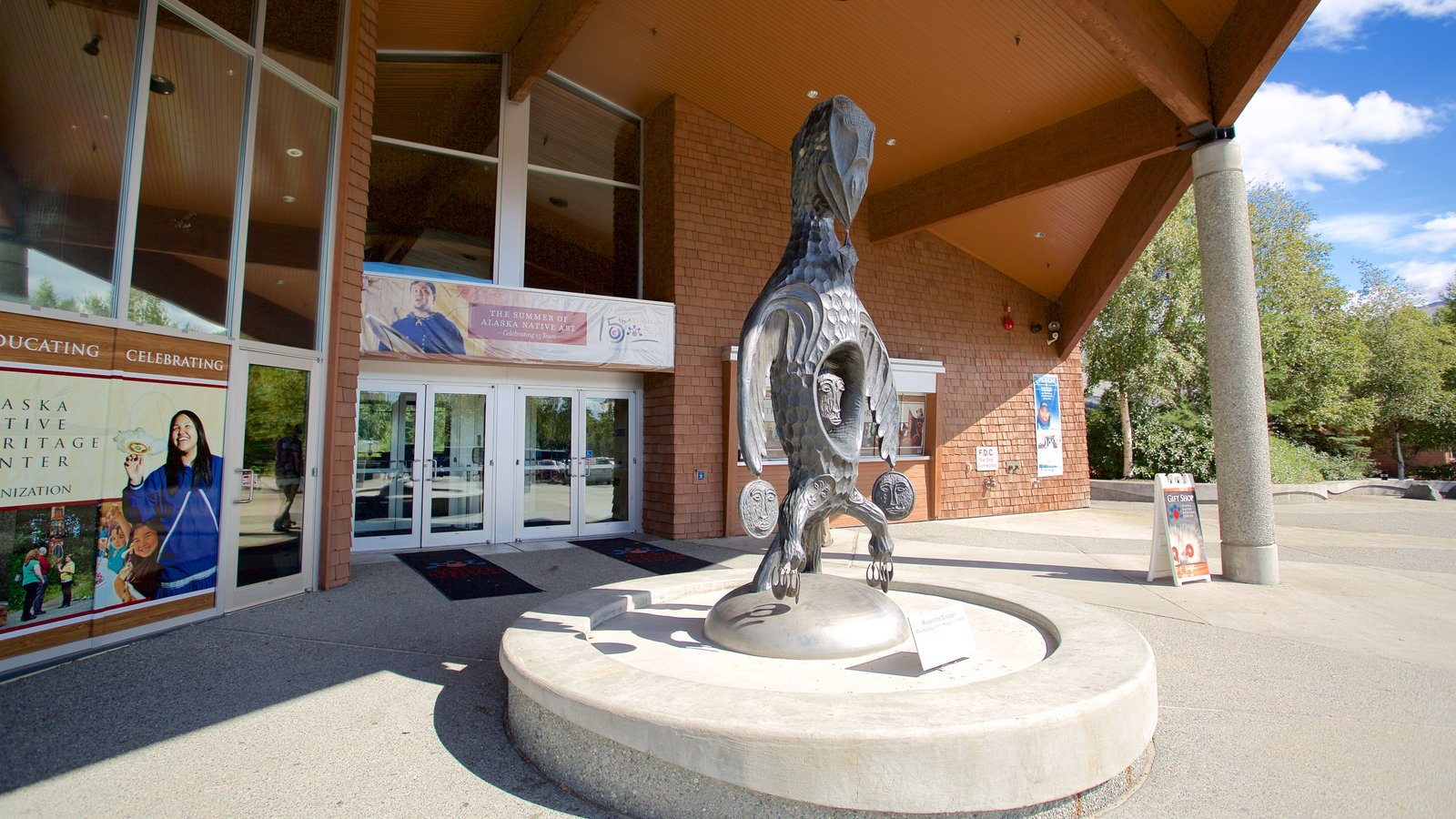 Alaska Native Heritage Center featuring a statue or sculpture