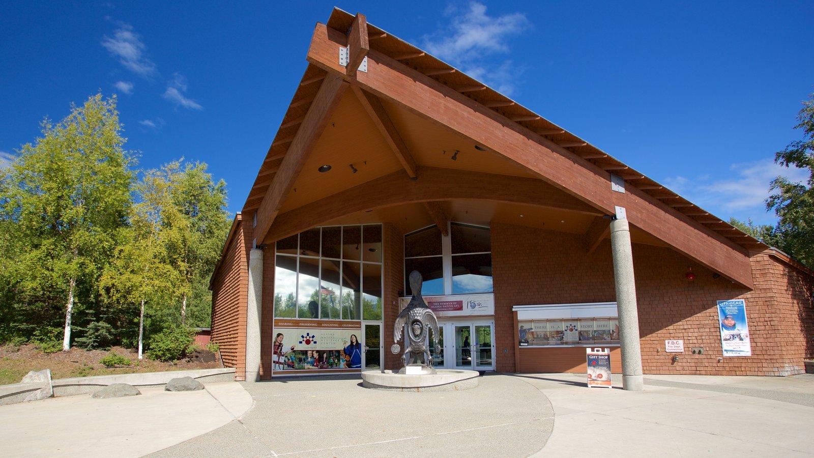 Alaska Native Heritage Center showing a statue or sculpture