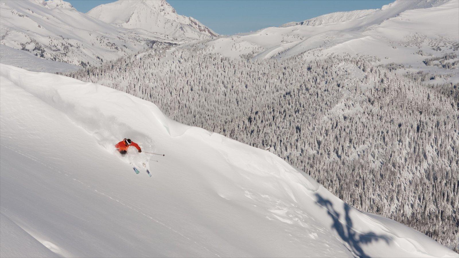 Mt Bachelor Ski Resort mostrando montañas, nieve y esquiar en la nieve