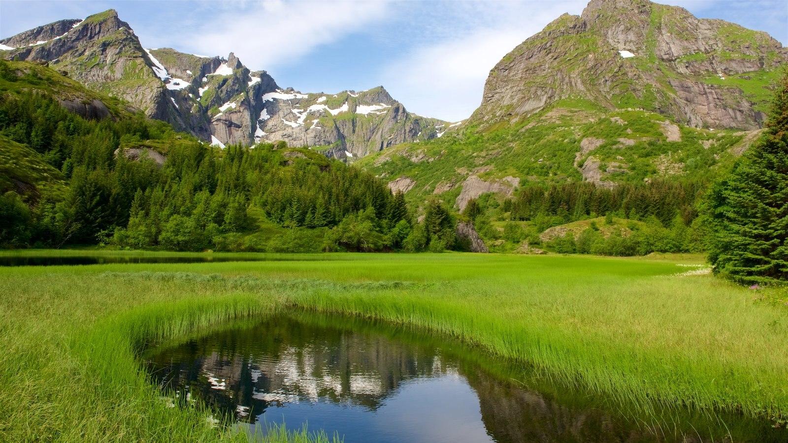 Leknes mostrando montanhas, um lago e paisagem