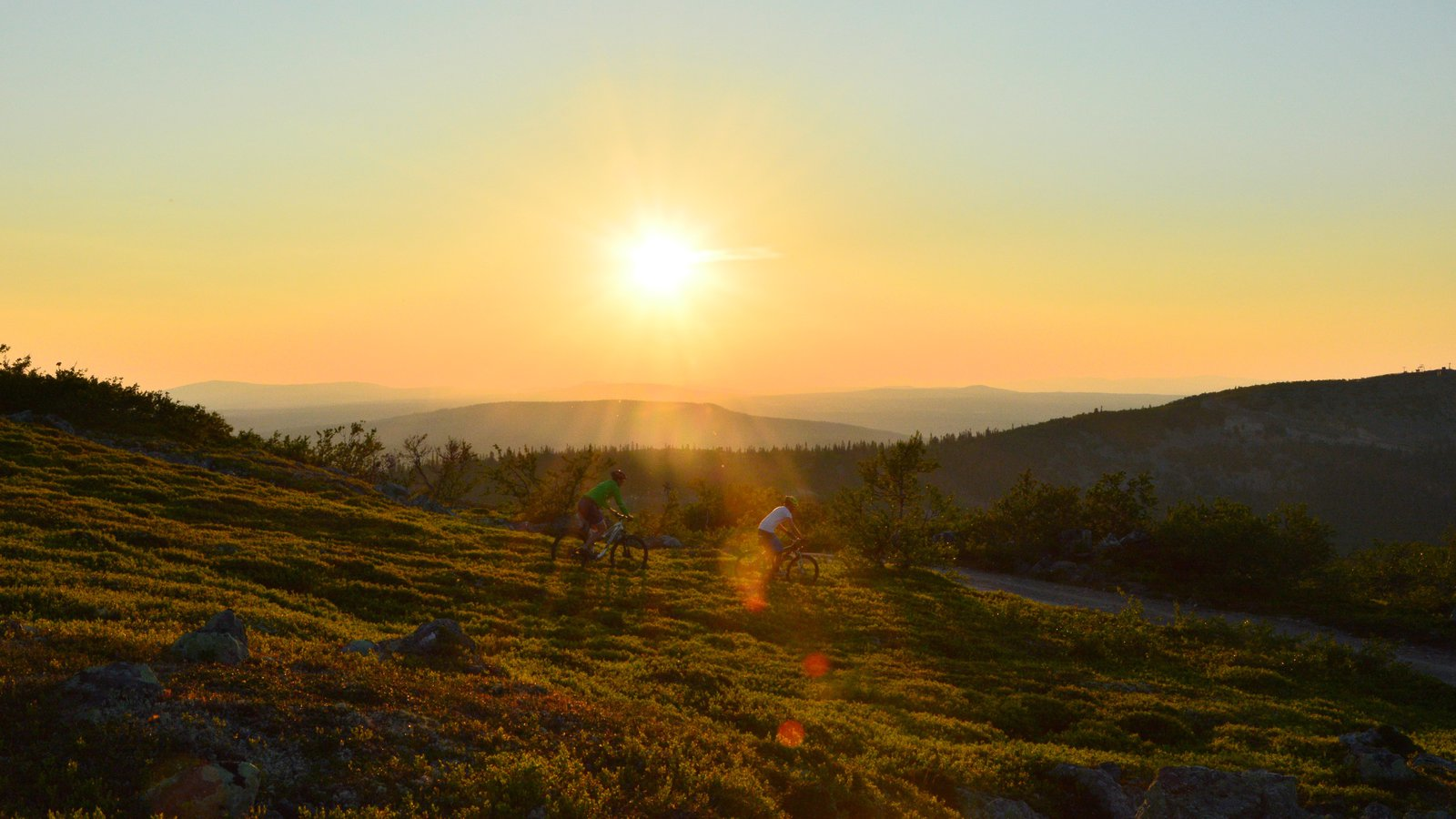 Vemdalen showing a sunset and mountain biking