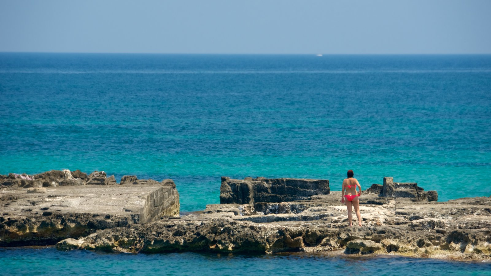 Monopoli featuring rocky coastline as well as an individual femail