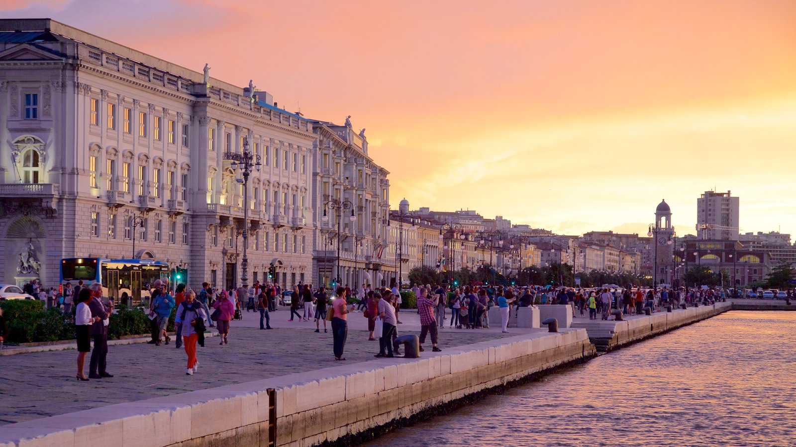 Trieste featuring a sunset, heritage architecture and a river or creek