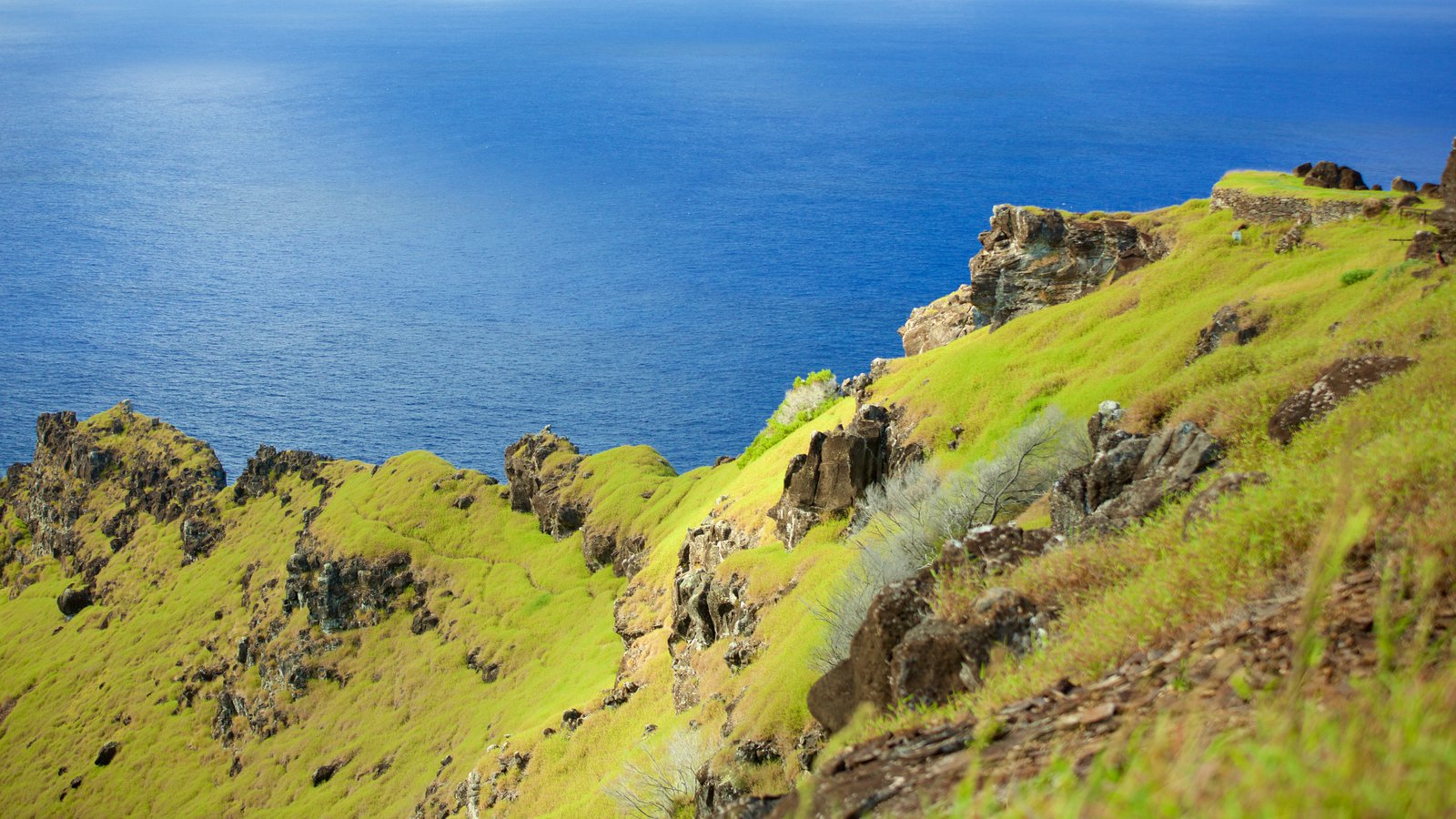 Easter Island which includes general coastal views and mountains