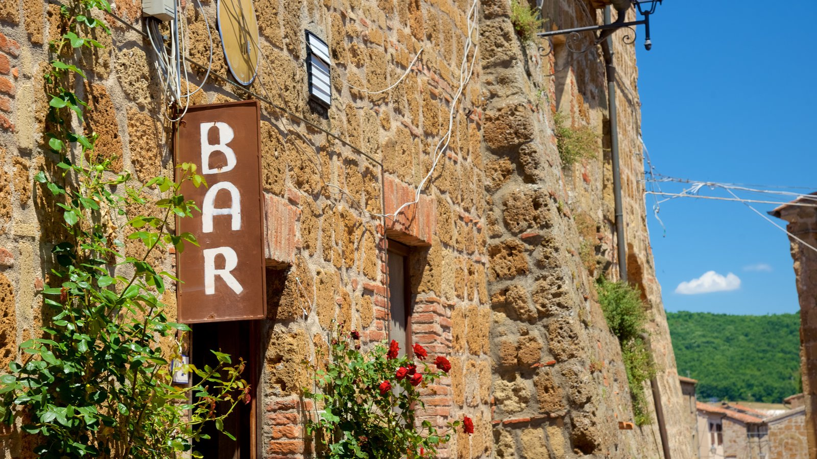 Sovana featuring heritage architecture and signage