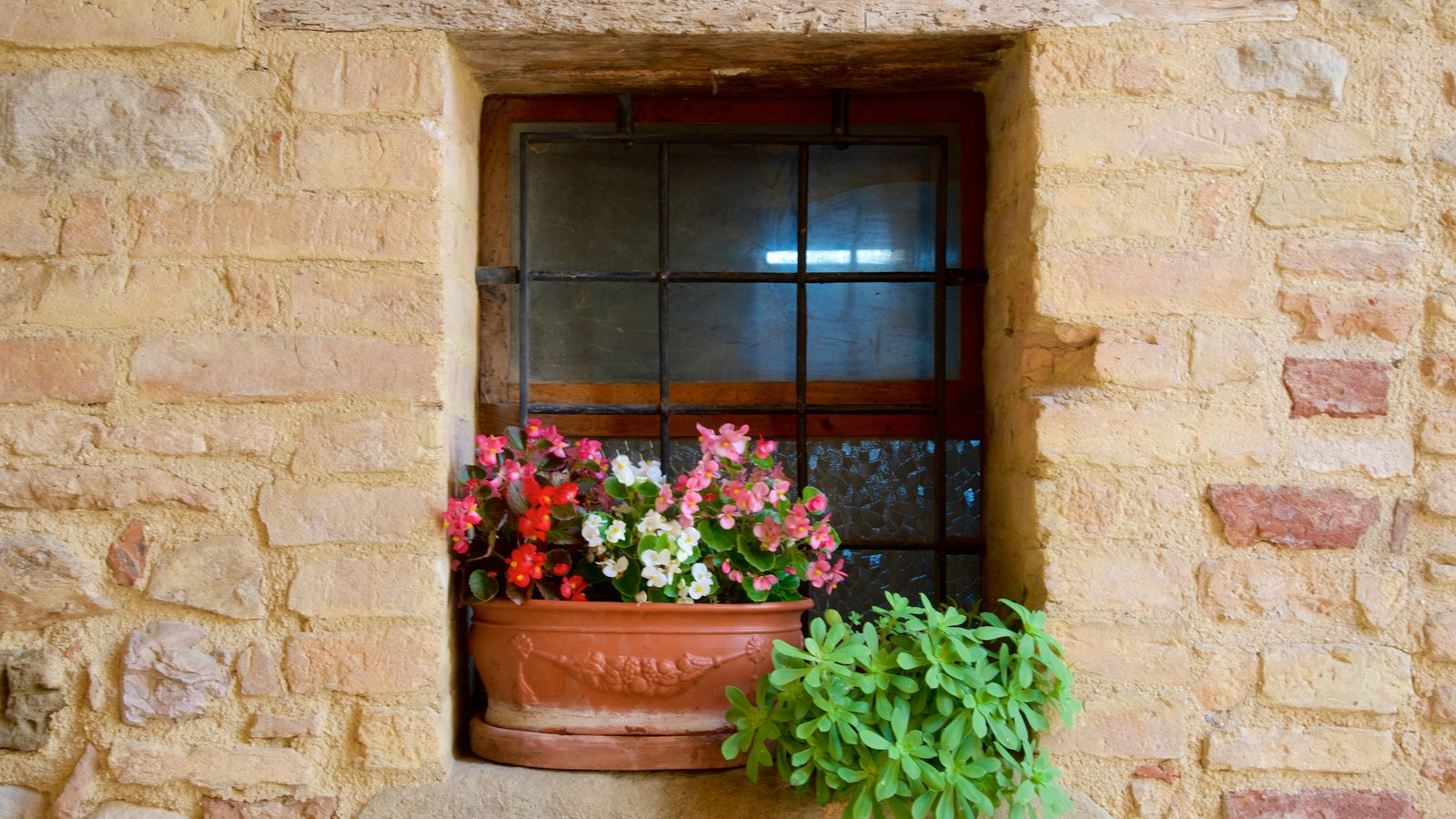 Montefalco which includes heritage elements and flowers