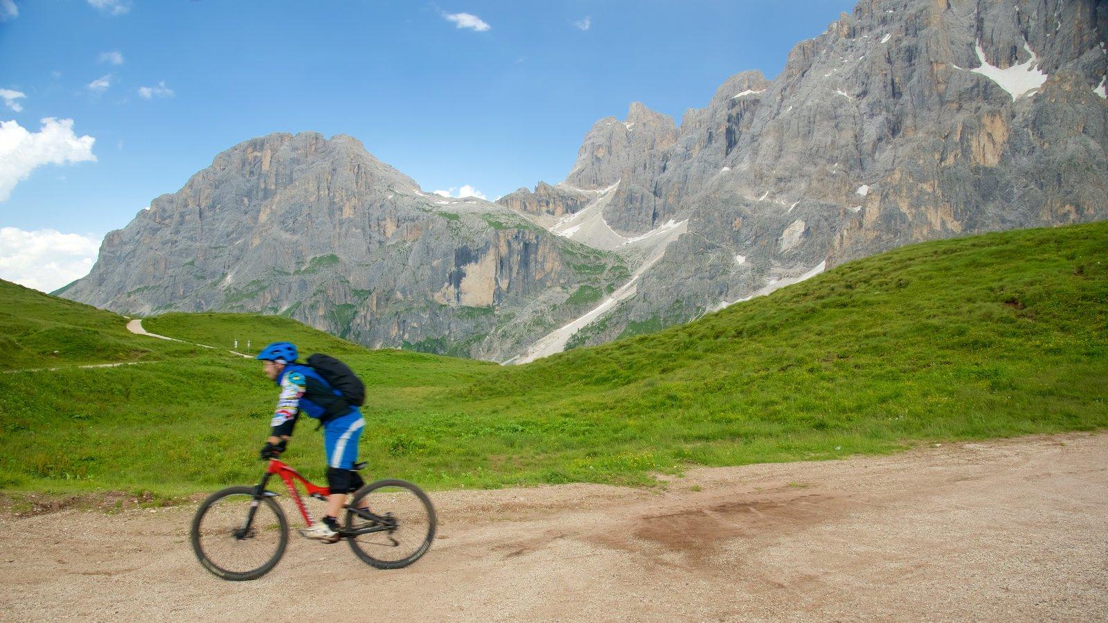 Passo Rolle ofreciendo ciclismo de montaña y montañas y también un hombre